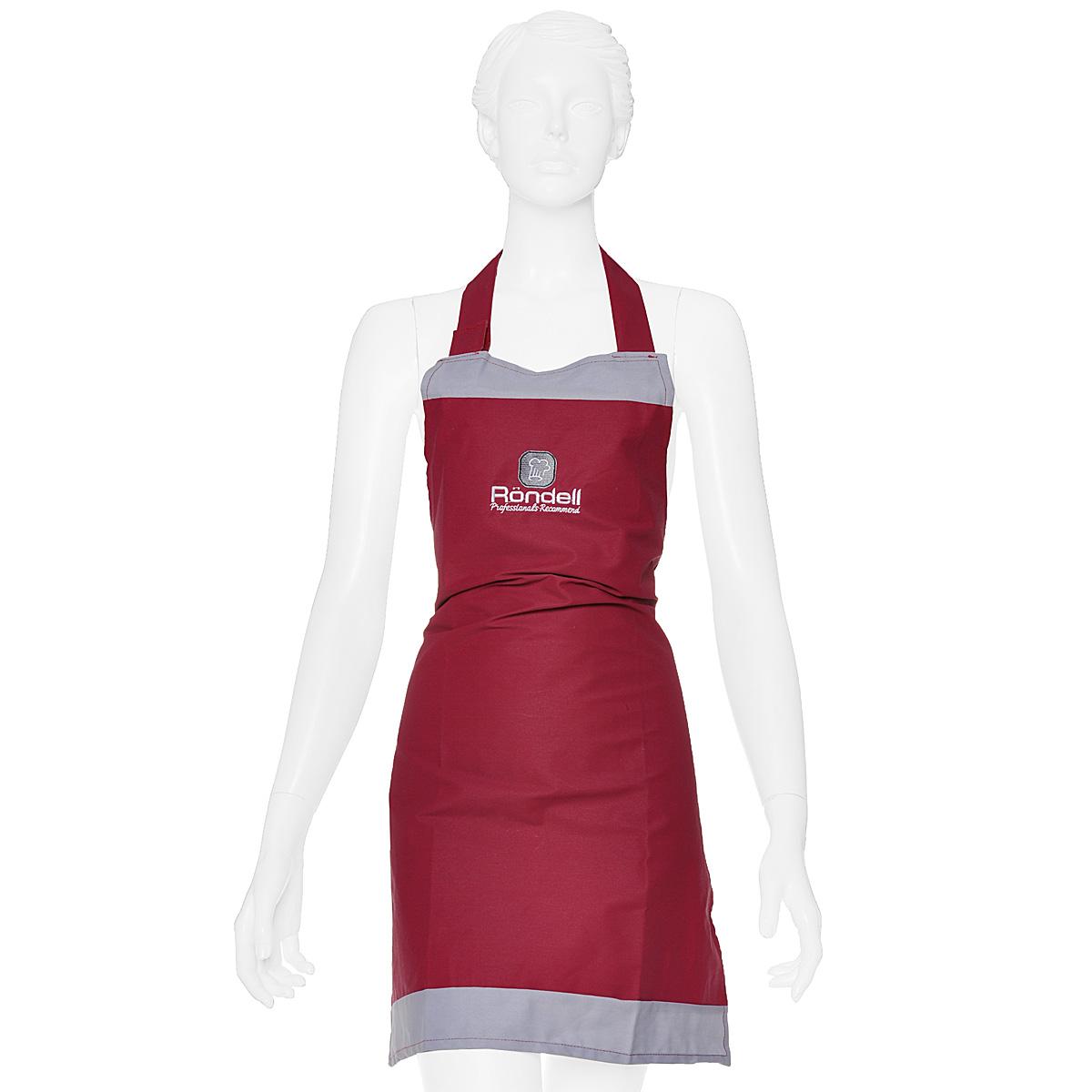 Фартук кухонный Rondell, цвет: бордовый, 56 х 76 смRDP-802Кухонный фартук Rondell выполнен из натурального хлопка бордового цвета. Ткань имеет защитное покрытие, обеспечивающее защиту от воды и жира. Фартук поможет вам избежать попадания еды на вашу одежду во время приготовления какого-либо блюда. На нем имеются удобная лямка-хомут и завязки. Длина хомута регулируется при помощи липучек. Характеристики:Материал: 100% хлопок. Размер фартука: 56 см х 76 см. Цвет: бордовый.