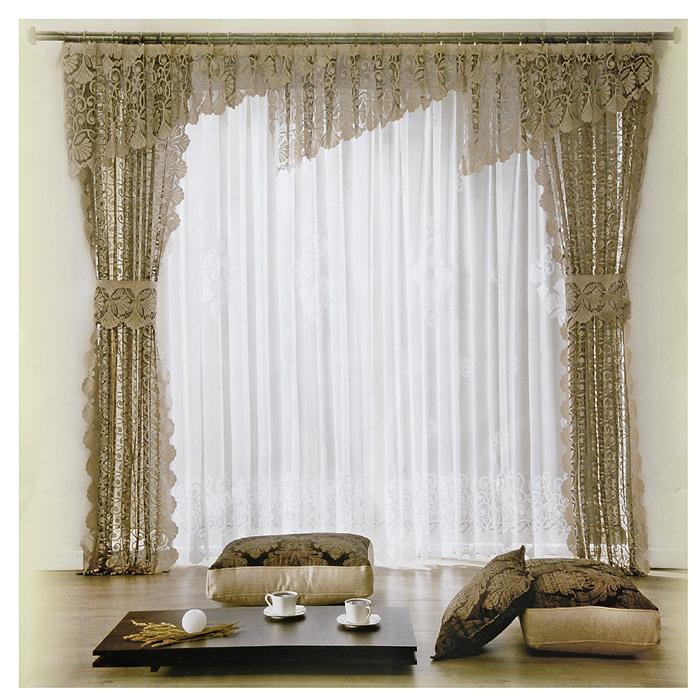 Комплект штор Wisan Klaudia, на ленте, цвет: белый, какао, высота 250 см080W тюль - белая, шторы и ламбрекен - какаоКомплект штор Wisan Klaudia, выполненный из полиэстера, великолепно украсит любое окно. Комплект состоит из двух штор, тюля, ламбрекена и двух подхватов. Шторы, ламбрекен и подхваты кофейного оттенка выполнены из мягкой тонкой ткани с шелковистой гладкой поверхностью и жаккардовым переплетением. Полупрозрачный белый тюль украшен узорной вышивкой.Тонкое плетение, оригинальный дизайн и спокойная цветовая гамма привлекут к себе внимание и органично впишутся в интерьер комнаты. В шторы, ламбрекен и тюль вшита универсальная шторная лента. Характеристики: Материал: 100% полиэстер. Цвет: белый, какао. В комплект входят: Штора - 2 шт. Размер (Ш х В): 145 см х 250 см. Тюль - 1 шт. Размер (Ш х В): 400 см х 250 см. Ламбрекен - 1 шт. Размер (Ш х В): 650 см х 60 см. Подхват - 2 шт. Размер (Ш х Д): 25 см х 80 см Фирма Wisan на польском рынке существует уже более пятидесяти лет и является одной из лучших польских фабрик по производству штор и тканей. Ассортимент фирмы представлен готовыми комплектами штор для гостиной, детской, кухни, а также текстилем для кухни (скатерти, салфетки, дорожки, кухонные занавески). Модельный ряд отличает оригинальный дизайн, высокое качество. Ассортимент продукции постоянно пополняется.
