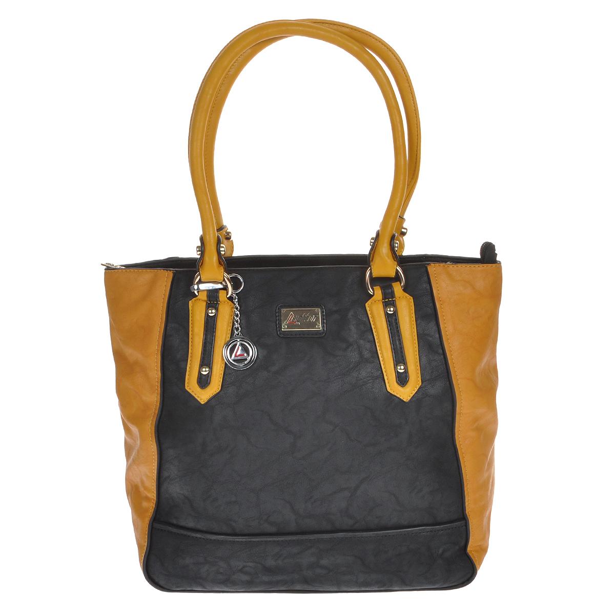 """Сумка женская Leighton, цвет: черный, желтый. 510270-609023008Стильная сумка Leighton выполнена из искусственной кожи черного цвета с желтыми кожаными вставками. Сумка имеет одно основное отделение, закрывающееся на застежку-молнию. Внутри - смежный карман на молнии, два накладных кармашка для мелочей и вшитый карман на молнии. На задней стенке сумки расположен вшитый карман на молнии. Сумка оснащена двумя ручками, позволяющими носить ее на плече. В комплекте металлический брелок.Фурнитура золотистого цвета. Дно защищено металлическими """"ножками"""".Модная сумка подчеркнет ваш яркий стиль и сделает образ модным и завершенным. Характеристики: Материал: искусственная кожа, металл, текстиль. Цвет: черный, желтый. Размер сумки: 40 см х 32 см х 14 см.Высота ручек: 24 см. Артикул: 510270-6090/1112/811/1112."""