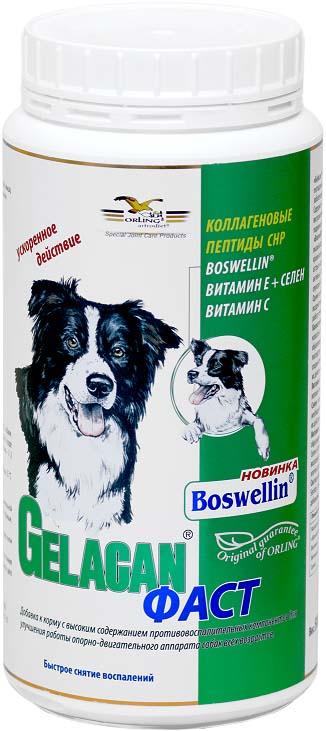 Добавка к корму для собак Гелакан Фаст, 500 г. GLN-12GLN-12Добавка к корму для собак Orling Гелакан Фаст подавляет воспалительные процессы в соединительных тканях суставов и сухожилий. Снижает боль и повышает подвижность суставов. Не оказывает вредного воздействия на внутренние органы собаки.Показания:- при острых осложнениях ОДА (хромоте, травмах суставов, позвоночника и сухожилий), сопровождаемых болевым синдромом;- при воспалениях позвоночника, суставов, сухожилий и мышц;- после операций и травм;- при скованности суставов у старых собак;- для улучшения подвижности.Способ применения:Применяется внутрь. Предварительно обязательно растворить в воде! Давать ежедневно с привычным для собаки кормом. Минимальный рекомендуемый курс применения 2 месяца. При необходимости возможно увеличение минимальной дозировки до 3-х раз. Курс рекомендуется повторять 2-3 раза в год, пожилым собакам рекомендовано непрерывное применение. Давать собакам в количестве, указанном на этикетке в соответствии с весом собаки.Состав (в 1 кг): коллаген СHP 900 г, Boswellia Serrata 86,7 г, витамин С 4332 мг, витамин Е 3467 мг, селен 3467 мкг. Вес: 500 г. Товар сертифицирован.