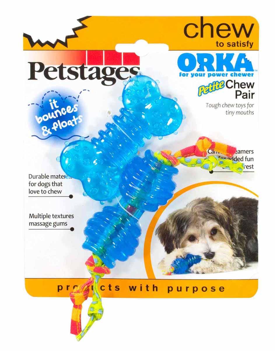 Набор игрушек для собак Petstages ORKA. 234STEX0120710Набор игрушек Petstages предназначен для самых миниатюрных собачек. В наборе 2 игрушки популярнейшей серии ORKA - косточка и гантелька. Игрушки плавают и, благодаря пружинящим свойствам синтетической резины, отлично отскакивают от поверхности земли и массируют десны. Длина гантельки (с канатиками): 13 см;Длина косточки: 7,5 см.