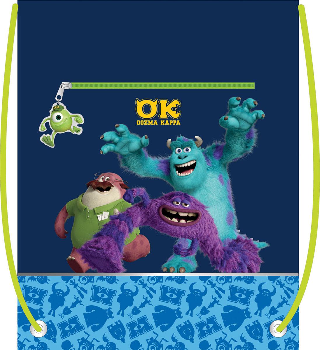 Сумка для сменной обуви Disney Университет монстров, цвет: темно-синий, салатовый34992Сумку Disney Университет монстров удобно использовать как для хранения, так и для переноски сменной обуви. Сумка выполнена из прочного полиэстера синего и салатового цветов и оформлена принтом с изображением персонажей мультфильма Университет монстров. На лицевой стороне расположен прорезной карман, закрывающийся на застежку-молнию. Бегунок застежки дополнен удобным держателем в виде фигурки персонажа.Сумка затягивается сверху при помощи текстильных шнурков. Шнурки фиксируются в нижней части сумки, благодаря чему ее можно носить за спиной как рюкзак. Светоотражающие вставки на сумке не оставят вашего ребенка незамеченным в темное время суток.