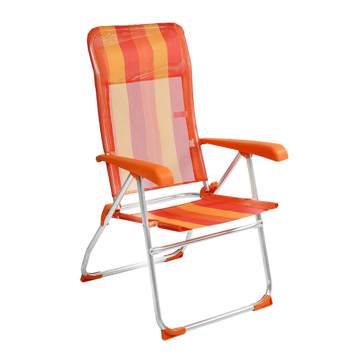 Кресло складное Happy Camper, цвет: желтый, оранжевыйТСДКресло складное Happy Camper - это незаменимый предмет походной мебели, очень удобен в эксплуатации. Каркас кресла изготовлен из прочного и долговечного алюминиевого сплава, устойчивого к погодным условиям, и оснащенный простым и безопасным механизмом регулировки и фиксации. Подлокотники выполнены из пластика. Кресло легко собирается и разбирается и не занимает много места, поэтому подходит для транспортировки и хранения дома. Складное кресло прекрасно подойдет для комфортного отдыха на даче или в походе. Характеристики: Материал: текстилен 1х1, алюминий. Размеры кресла в разложенном состоянии: 61 см х 64 см х 110 см. Максимальная нагрузка: 110 кг.