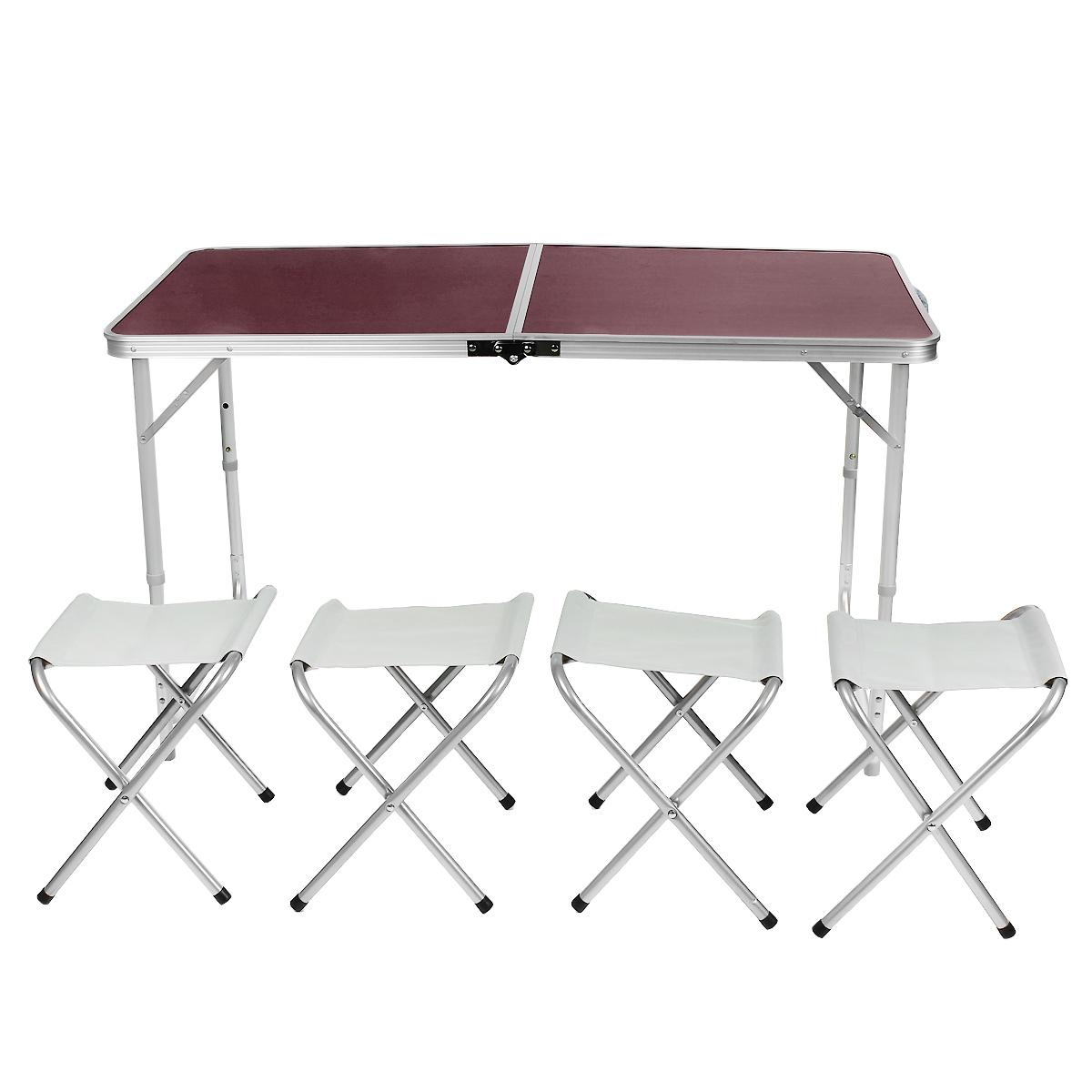 Набор складной мебели Happy Camper, 5 предметовNF-20504Стол складной Happy Camperс 4 стульями - это незаменимый предмет походной мебели, очень удобен в эксплуатации. Каркас складного стола выполнен из алюминия, а столешница из МДФ. Стол легко собирается и разбирается и не занимает много места, поэтому подходит для транспортировки и хранения дома. Складывается в виде чемоданчика.Характеристики: Материал ножек: алюминий. Материал поверхности: МДФ. Размеры в разложенном виде: 120 см х 60 см х 70 см. Размеры в сложенном виде: 70 см х 6 см х 50 см. Максимальная нагрузка: 30 кг. Размер стула (ДхШхВ): 34 см х 28 см х 36 см.