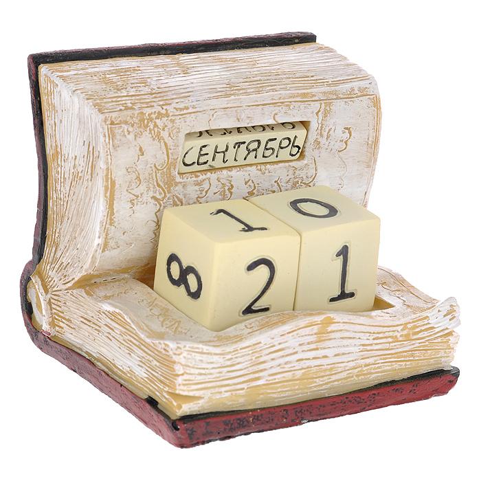Декоративный календарь Книга. 3336274-0120Декоративный календарь Книга, выполненный из полирезины в виде книги. Дата на календаре устанавливается вручную с помощью кубиков, на которых указанычисла и месяцы. Кубики вложены в специальные отверстия в календаре илегко вынимаются. Настольный прибор послужит отличным иоригинальным украшением стола. Характеристики: Материал: полирезина. Цвет: бордовый, бежевый. Размер: 10 см х 11 см х 10,5 см.