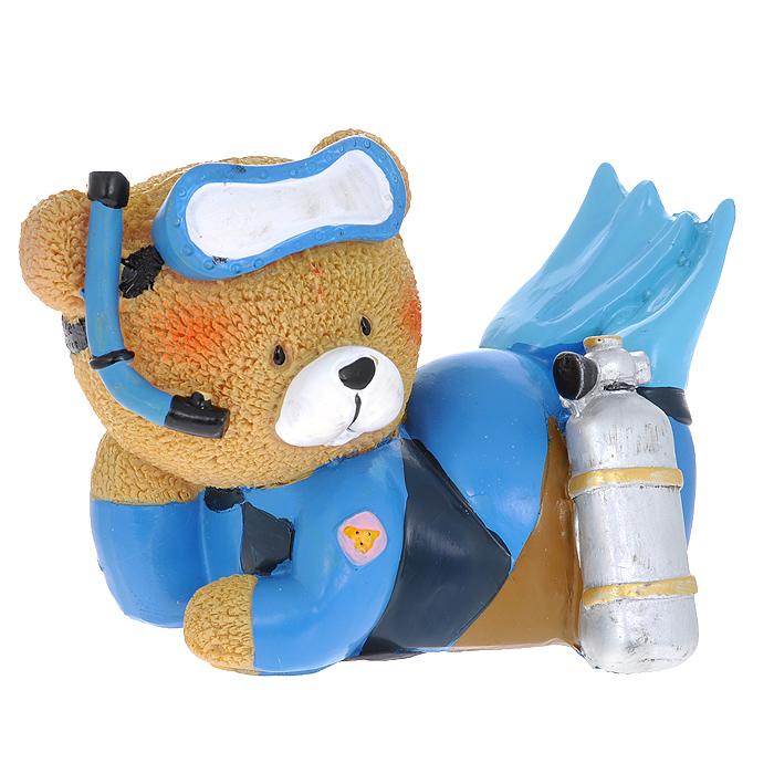 Декоративная фигурка Мишка-дайвер, высота 9 см. 29385 фигурка декоративная ракушка цвет голубой высота 9 см 36767