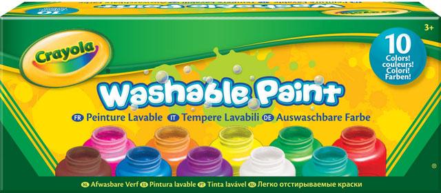 Акварель в баночках Crayola, смываемая, 10 цветовFS-00102Смываемая акварель в баночках Crayola– отличное решение для детского творчества. В компактной упаковке вы найдете 10 баночек по 59 миллилитров: красного, оранжевого, желтого, зеленого, бирюзового, синего, пурпурного, фиолетового, коричневого и белого цветов.Кремообразная консистенция краски позволяет ей оставаться на кисточке, а не капать с нее в неположенных местах. Краска легко наносится. И, что немаловажно, эта акварель быстро смывается не только с рук, но и с одежды с помощью воды. Характеристики:Комплектация: 10 цветов.
