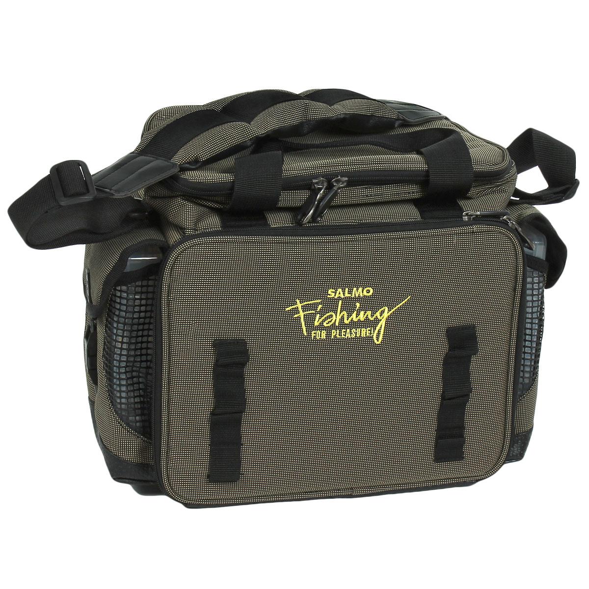 Сумка рыболовная Salmo 09, цвет: серыйLJ-108Удобная сумка для рыболовных принадлежностей. В комплекте пять пластиковых коробок, размером 28 см х 18 см х 4 см, и две коробки, размером 20 см х 13 см х 4 см, с многочисленными отделениями. Верхнее отделение, удобное для перевозки катушек.Двойная ручка и мягкий, регулируемый по длине, наплечный ремень.