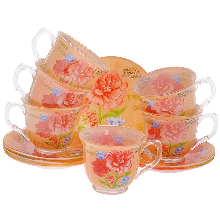 Набор чайный Bekker, 12 предметов. BK-5843VT-1520(SR)Чайный набор Bekker состоит из 6 чашек и 6 блюдец. Предметы набора выполнены из стекла оранжевого цвета и украшены изображением цветов. Яркий дизайн, несомненно, придется вам по вкусу.Чайный набор Bekker Koch украсит ваш кухонный стол, а также станет замечательным подарком к любому празднику. Набор упакован в подарочную коробку в виде сердца, внутренняя часть коробки задрапирована белым атласным материалом.Не применять абразивные чистящие средства. Не использовать в микроволновой печи. Мыть с применением нейтральных моющих средств. Можно мыть в посудомоечных машинах. Характеристики:Материал:стекло. Цвет:оранжевый. Диаметр чашки по верхнему краю:9 см. Высота чашки:7,5 см. Объем чашки:220 мл. Диаметр блюдца:13,8 см.