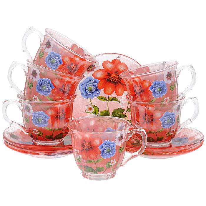 Набор чайный Bekker, 12 предметов. BK-5839VT-1520(SR)Чайный набор Bekker состоит из 6 чашек и 6 блюдец. Предметы набора выполнены из стекла красного цвета и украшены изображением цветов. Яркий дизайн, несомненно, придется вам по вкусу.Чайный набор Bekker Koch украсит ваш кухонный стол, а также станет замечательным подарком к любому празднику. Набор упакован в подарочную коробку в виде сердца, внутренняя часть коробки задрапирована белым атласным материалом.Не применять абразивные чистящие средства. Не использовать в микроволновой печи. Мыть с применением нейтральных моющих средств. Можно мыть в посудомоечных машинах. Характеристики:Материал:стекло. Цвет: красный. Диаметр чашки по верхнему краю:9 см. Высота чашки:7,5 см. Объем чашки:220 мл. Диаметр блюдца:13,8 см.