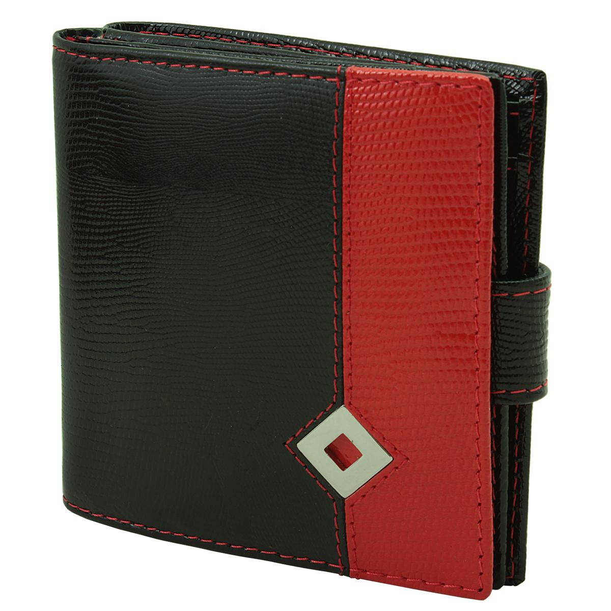 Кошелек женский Dimanche Papillon Noir, цвет: черный, красный. 244W16-11128_323Женский компактный кошелек Papillon Noir выполнен из натуральной высококачественной кожи с декоративным тиснением. Кошелек состоит из двух отделений. Первое отделение закрывается на магнитную кнопку, имеет четыре кармашка для кредиток и карман для монет с клапаном на кнопке. Второе отделение также закрывается на магнитную кнопку и содержит два кармана для купюр. Между отделениями также предусмотрен кармашек. Кошелек упакован в фирменную картонную коробку. Характеристики:Материал: натуральная кожа, текстиль, металл. Размер кошелька: 9,5 см х 10 см х 2,8 см. Цвет: черный, красный.