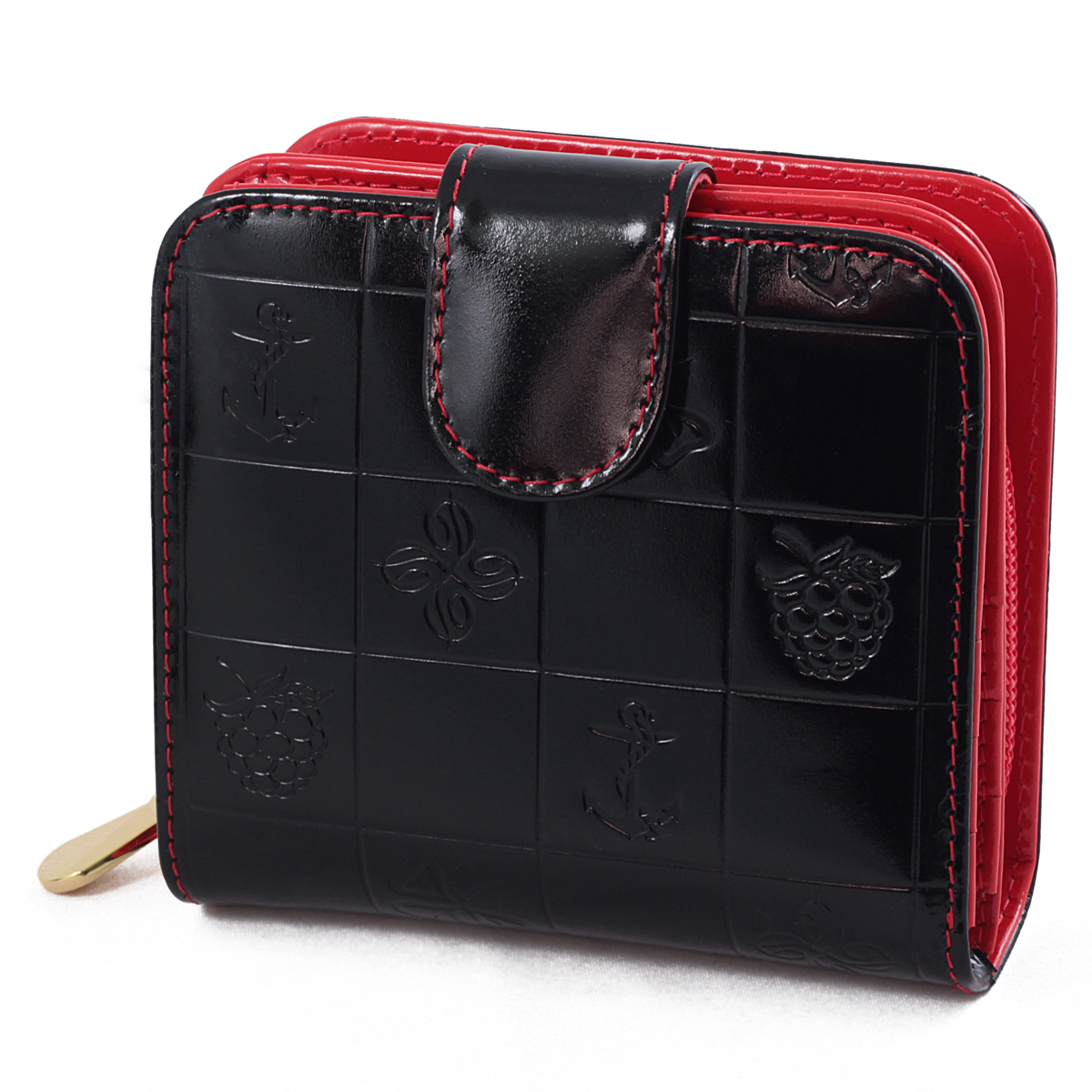 Кошелек женский Dimanche Bonbon, цвет: черный, красный. 295INT-06501Женский кошелек Bonbon выполнен из натуральной лаковой высококачественной кожи с декоративным тиснением. Состоит из двух отделений. В первом, закрывающимся на кнопку, имеется два отделения для купюр и восемь кармашков для кредитных карт. Второе отделение для мелочи закрывается на молнию, внутри имеется перегородка. Кошелек упакован в фирменную картонную коробку. Характеристики:Материал: натуральная кожа, текстиль, металл. Размер кошелька: 9,5 см х 10,5 см х 3,5 см. Цвет: черный, красный.