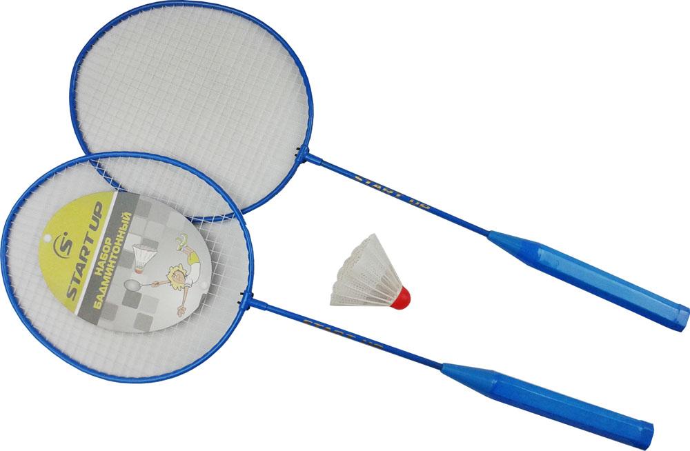 Набор для бадминтона Start Up R-215, цвет: синий, белый, 3 предмета52460Набор для бадминтона Start Up R-215 предназначен для детей и игроков начального уровня. В наборе две легкие бадминтонные ракетки в сетчатом чехле и волан. Длина ракеток - 65 см.