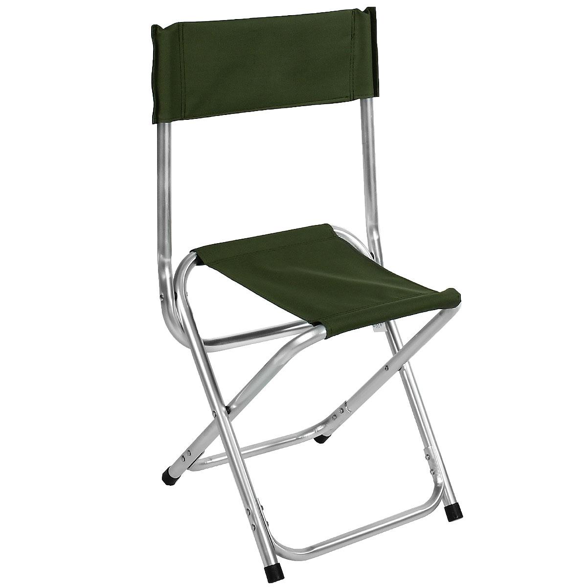 Стул складной Happy Camper, цвет: темно-зеленый32187Стул складной Happy Camper - это незаменимый предмет походной мебели, очень удобен в эксплуатации. Каркас стула изготовлен из прочного и долговечного алюминиевого сплава, устойчивого к погодным условиям, и оснащенный простым и безопасным механизмом регулировки и фиксации. Стул легко собирается и разбирается и не занимает много места, поэтому подходит для транспортировки и хранения дома. Складное кресло прекрасно подойдет для комфортного отдыха на даче или в походе.Высота от пола до сидения: 40 см.Материал: 600D ПВХ, каркас - алюминий, диаметром 19 мм.Размеры стула в сложенном состоянии: 42 см х 38 см х 31 см.Максимальная нагрузка: 60 кг.