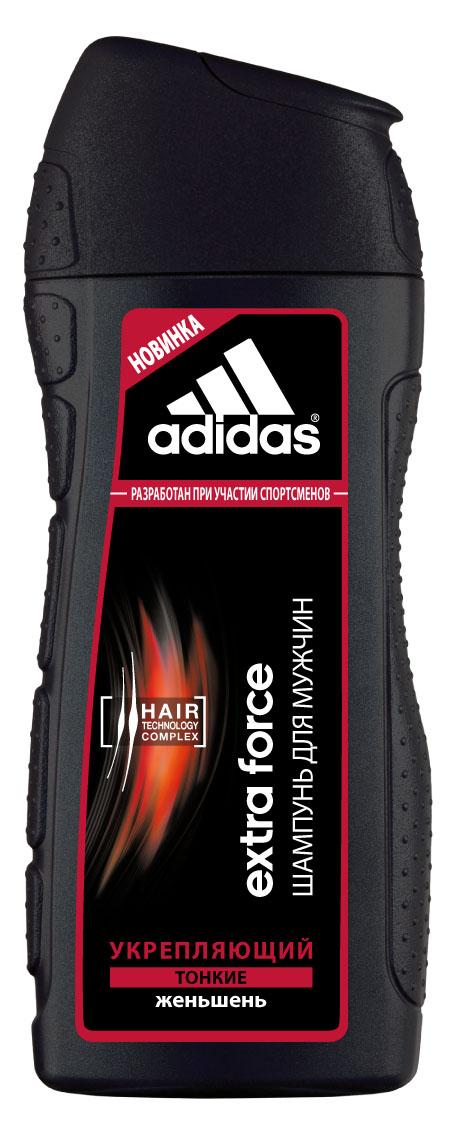 Adidas Шампунь Extra Force, укрепляющий, с женьшенем, для тонких волос, для мужчин, 200 млCF5512F4Экстремальный климат, занятия спортом и, как следствие, частое мытье головы способствует ослаблению волос.Мужчинам нужен шампунь, который не повреждает волосы даже при частом использовании. Шампунь Adidas Extra Force разработан при участии спортсменов. Его инновационная формула c комплексом Hair Technology обеспечивает глубокое очищение тонких волос. Комплекс Hair Technology – это уникальное сочетание двух основных компонентов, известных своим действием: - Пантенол: интенсивное увлажнение; - Катионный полимер: облегчение расчесывания волос.Формула шампуня с экстрактом женьшеня способствует укреплению волос и оказывает стимулирующее воздействие на кожу головы.Технология Без силикона исключительно бережно воздействует на волосы. Характеристики:Объем: 200 мл. Товар сертифицирован.