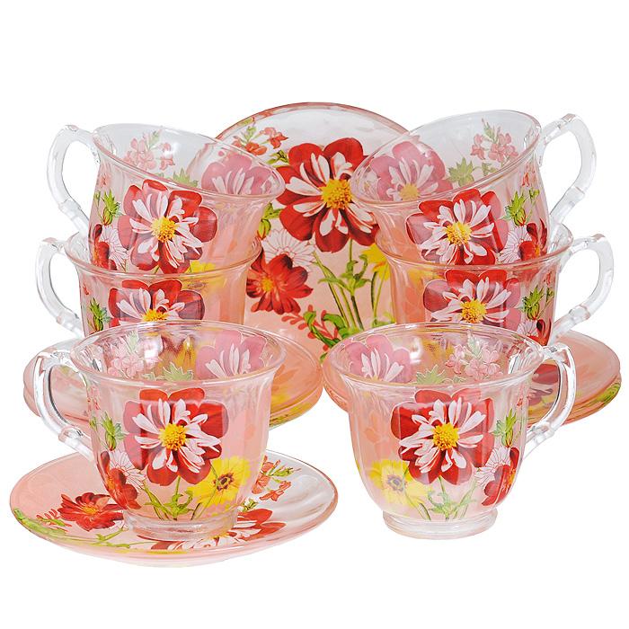 Набор чайный Bekker, 12 предметов. BK-5841VT-1520(SR)Чайный набор Bekker состоит из шести чашек и шести блюдец. Предметы набора изготовлены из высококачественного стекла и оформлены ярким цветочным рисунком.Изящный дизайн придется по вкусу и ценителям классики, и тем, кто предпочитает утонченность и изысканность. Он настроит на позитивный лад и подарит хорошее настроение с самого утра. Набор упакован в подарочную коробку в форме сердца. Внутренняя часть коробки задрапирована белой атласной тканью. Каждый предмет надежно зафиксирован внутри коробки благодаря специальным выемкам.Чайный набор - идеальный и необходимый подарок для вашего дома и для ваших друзей в праздники, юбилеи и торжества! Он также станет отличным корпоративным подарком и украшением любой кухни. Характеристики:Материал: стекло. Диаметр чашки по верхнему краю: 9 см. Высота чашки: 7,5 см. Объем чашки: 220 мл. Диаметр блюдца: 14 см.
