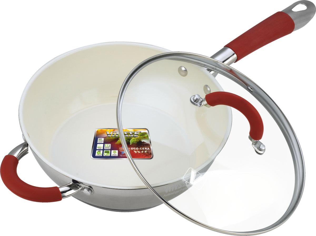 Сковорода Vitesse Arch с крышкой, с керамическим покрытием. Диаметр 24 смFS-80299Сковорода Vitesse Arch изготовлена из высококачественной нержавеющей стали 18/10 с комбинированной полировкой. Внутреннее керамическое покрытие Eco-Cera, позволяющее готовить при высоких температурах, не оставляет послевкусия, делает возможным приготовление блюд без масла, сохраняет витамины и питательные вещества. Покрытие устойчиво к царапинам и механическим повреждениям. Безопасно для человека, не содержит PFOA. Многослойное термоаккумулирующее дно с алюминиевой прослойкой обеспечивает равномерное распределение тепла.Сковорода оснащена прочной ручкой из нержавеющей стали с силиконовым покрытием.Крышка из термостойкого стекла снабжена металлическим ободом, удобной стальной ручкой и отверстием для выпуска пара. Такая крышка позволит следить за процессом приготовления пищи без потери тепла. Она плотно прилегает к краям сковороды, сохраняя аромат блюд. Сковорода Vitesse Arch подходит для использования на всех типах кухонных плит, включая индукционные. Можно мыть в посудомоечной машине. Характеристики:Материал: нержавеющая сталь 18/10, силикон, стекло. Внутренний диаметр сковороды: 24 см. Объем: 3 л. Высота стенки сковороды: 8 см. Толщина стенки: 0,5 мм. Толщина дна: 5 мм. Длина ручки: 21 см. Диаметр дна: 18 см.Кухонная посуда марки Vitesse из нержавеющей стали 18/10 предоставит вам все необходимое для получения удовольствия от приготовления пищи и принесет радость от его результатов. Посуда Vitesse обладает выдающимися функциональными свойствами. Легкие в уходе кастрюли и сковородки имеют плотно закрывающиеся крышки, которые дают возможность готовить с малым количеством воды и экономией энергии, и идеально подходят для всех видов плит: газовых, электрических, стеклокерамических и индукционных. Конструкция дна посуды гарантирует быстрое поглощение тепла, его равномерное распределение и сохранение. Великолепно отполированная поверхность, а также многочисленные конструктивные новшества, зал