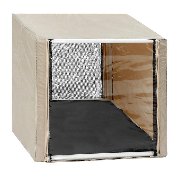 Клетка для кошек Заря-Плюс, выставочная, разборная, цвет: бежевый, 56 см х 56 см х 56 см. КВР00120710Выставочная клетка-палатка Заря-Плюс - отличный выбор для участия на любой российской или международной кошачьей выставке.Данная модель выставочной клетки обладает многочисленными преимуществами: - клетка выполнена из высококачественного материала - ПВХ; - клетка разборная, в комплект входит сборный каркас из пластиковых труб вместе с соединительными уголками; - боковые стороны клетки закрытые; - лицевая сторона клетки выполнена из пленки, которая пристегивается с помощью молнии; - обратная сторона клетки выполнена из сетки, которая также пристегивается с помощью молнии; - в сложенном виде клетка довольно компактна, при хранении занимает мало места; - клетка переносится в чехле, который входит в комплект; - для удобной переноски чехол имеет короткую и длинную ручки, также на чехле имеется 2 больших кармана на молнии; - в комплект входит матрац со съемным чехлом на молнии, при необходимости он легко снимается для стирки.