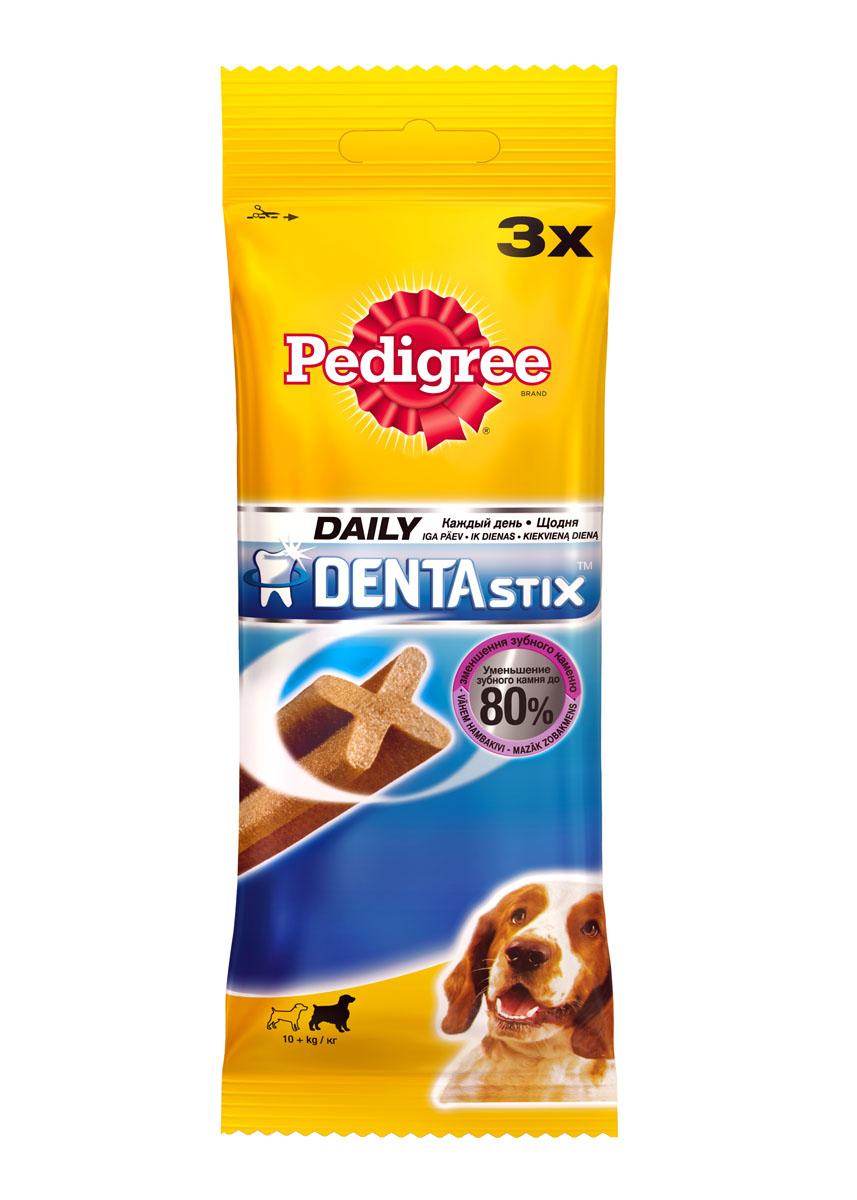 Лакомство по уходу за зубами Pedigree Denta Stix для собак средних и крупных пород, 180 г0120710Собакам необходим ежедневный уход за полостью рта. Pedigree Denta Stix - это вкусное лакомство на каждый день, которое не только очищает зубы, но и укрепляет десны и освежает дыхание. Благодаря своей уникальной форме, Pedigree Denta Stix уменьшит у вашего любимца зубной камень до 80%. Denta Stix - это уникальная возможность ухаживать за зубами собаки во время еды. Структура Pedigree Denta Stix имеет Х-образный профиль. Чтобы разжевать косточку, собака должна прилагать усилия, что помогает удалить налет. Pedigree Denta Stix разжевываются в течение довольно долгого времени. Дополнительное преимущество продолжительного жевания состоит в том, что оно стимулирует выделение слюны. Слюна помогает вымывать остатки пищи и удалять их с зубов. Состав: Состав: злаки, продукты растительного происхождения, минералы, мясо и субпродукты, белковые растительные экстракты, масла и жиры, ароматизатор куриный натуральный (43,6 г). Анализ: белок - 9 г, жир - 2,6 г, клетчатка - 2,4 г, зола - 6,1 г, влажность - 8 г, триполифосфат натрия - 2,4 г, сульфат цинка - 104,5 мг.Вес: 180 г.Товар сертифицирован.