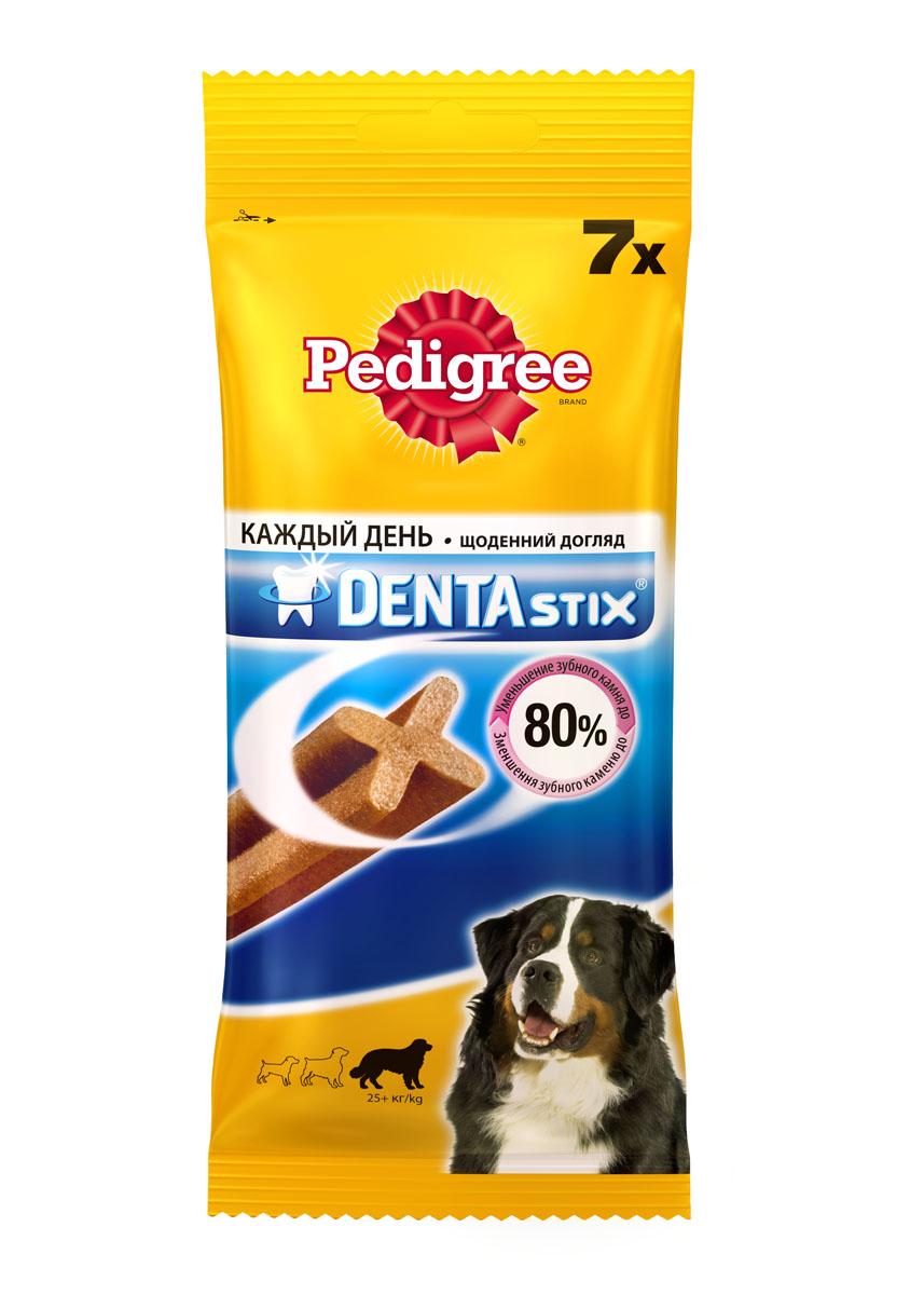 Лакомство по уходу за зубами Pedigree Denta Stix для собак крупных пород, 270 г0120710Собакам необходим ежедневный уход за полостью рта. Pedigree Denta Stix - это вкусное лакомство на каждый день, которое не только очищает зубы, но и укрепляет десны и освежает дыхание. Благодаря своей уникальной форме, Pedigree Denta Stix уменьшит у вашего любимца зубной камень до 80%. Denta Stix - это уникальная возможность ухаживать за зубами собаки во время еды. Структура Pedigree Denta Stix имеет Х-образный профиль. Чтобы разжевать косточку, собака должна прилагать усилия, что помогает удалить налет. Pedigree Denta Stix разжевываются в течение довольно долгого времени. Дополнительное преимущество продолжительного жевания состоит в том, что оно стимулирует выделение слюны. Слюна помогает вымывать остатки пищи и удалять их с зубов. Состав: злаки, продукты растительного происхождения, минералы, мясо и субпродукты, белковые растительные экстракты, масла и жиры, ароматизатор куриный натуральный (43,6 г). Анализ: белок - 9,5 г, жир - 2,6 г, клетчатка - 2,4 г, зола - 6,1 г, влажность - 8 г, триполифосфат натрия - 2,4 г, сульфат цинка - 104,5 мг. Вес: 270 г. Товар сертифицирован.