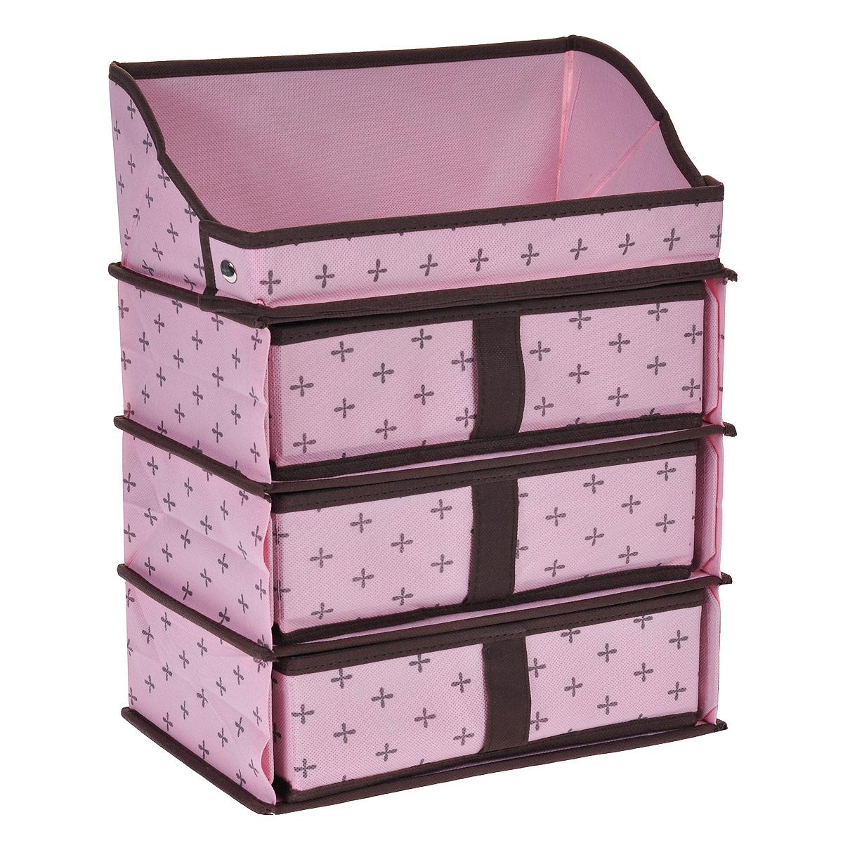 Кофр для хранения FS-6121, цвет: розовый, 28 х 18 х 36 смFS-6121Кофр для хранения FS-6121 изготовлен из высококачественного нетканого материала, который позволяет сохранять естественную вентиляцию, а воздуху свободно проникать внутрь, не пропуская пыль. Благодаря специальным вставкам, кофр прекрасно держит форму, а эстетичный дизайн гармонично смотрится в любом интерьере. Кофр состоит из верхней полки и трех выдвижных отделений. Мобильность конструкции обеспечивает складывание и раскладывание одним движением.Такой кофр сэкономит место и сохранит порядок в доме. Характеристики:Материал: нетканый материал. Цвет: розовый. Размер кофра (Ш х Д х В): 28 см х 18 см х 36 см.