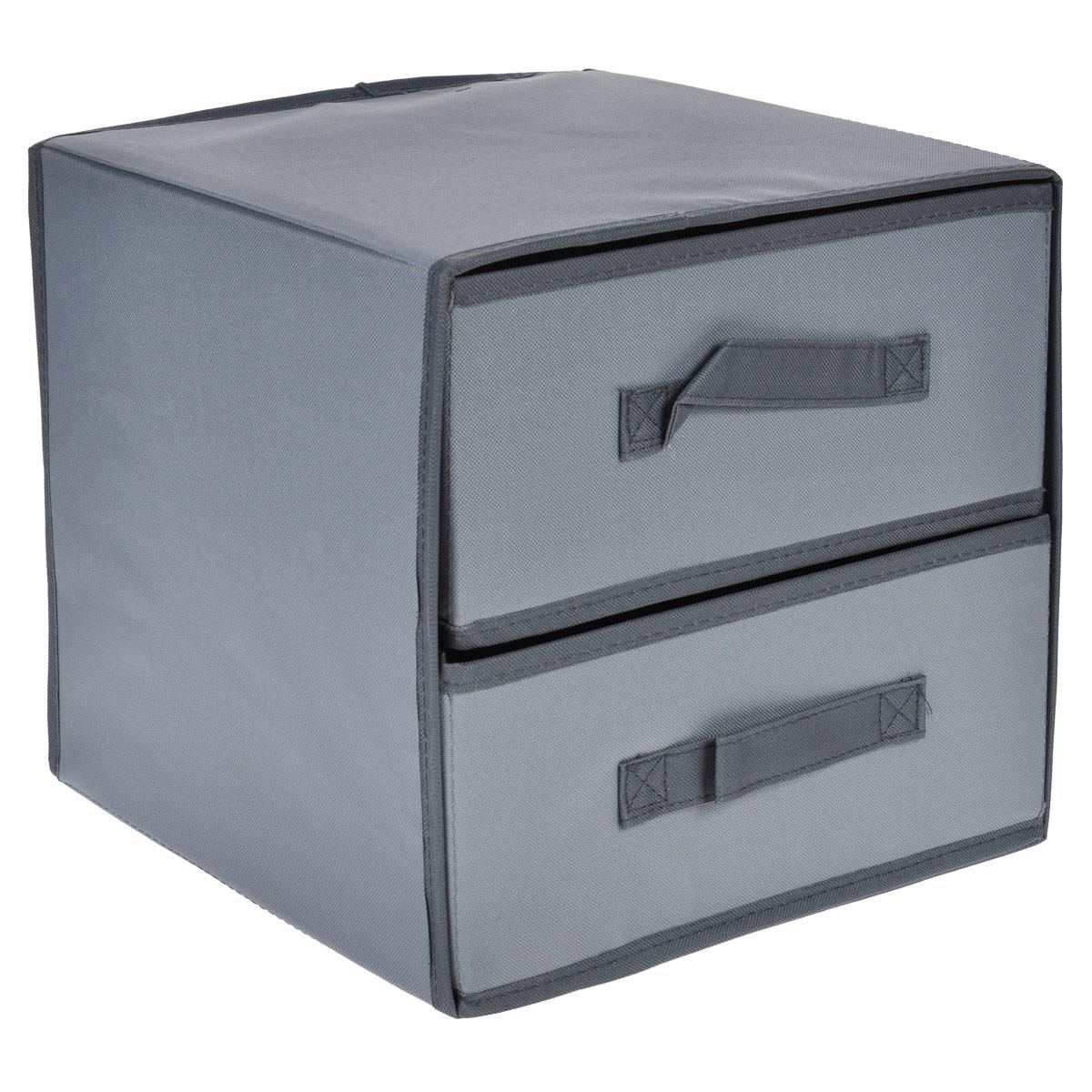 Кофр для хранения FS-6144P, цвет: серый, 30 см х 30 см х 27,5 смFS-6144PКофр для хранения с двумя вертикальными отделениями FS-6144P изготовлен из высококачественного нетканого материала, который позволяет сохранять естественную вентиляцию, а воздуху свободно проникать внутрь, не пропуская пыль. Благодаря специальным вставкам, кофр прекрасно держит форму, а эстетичный дизайн гармонично смотрится в любом интерьере. Мобильность конструкции обеспечивает складывание и раскладывание одним движением.Такой кофр сэкономит место и сохранит порядок в доме. Характеристики:Материал: нетканый материал. Цвет: серый. Размер кофра (Ш х Д х В): 30 см х 30 см х 27,5 см.