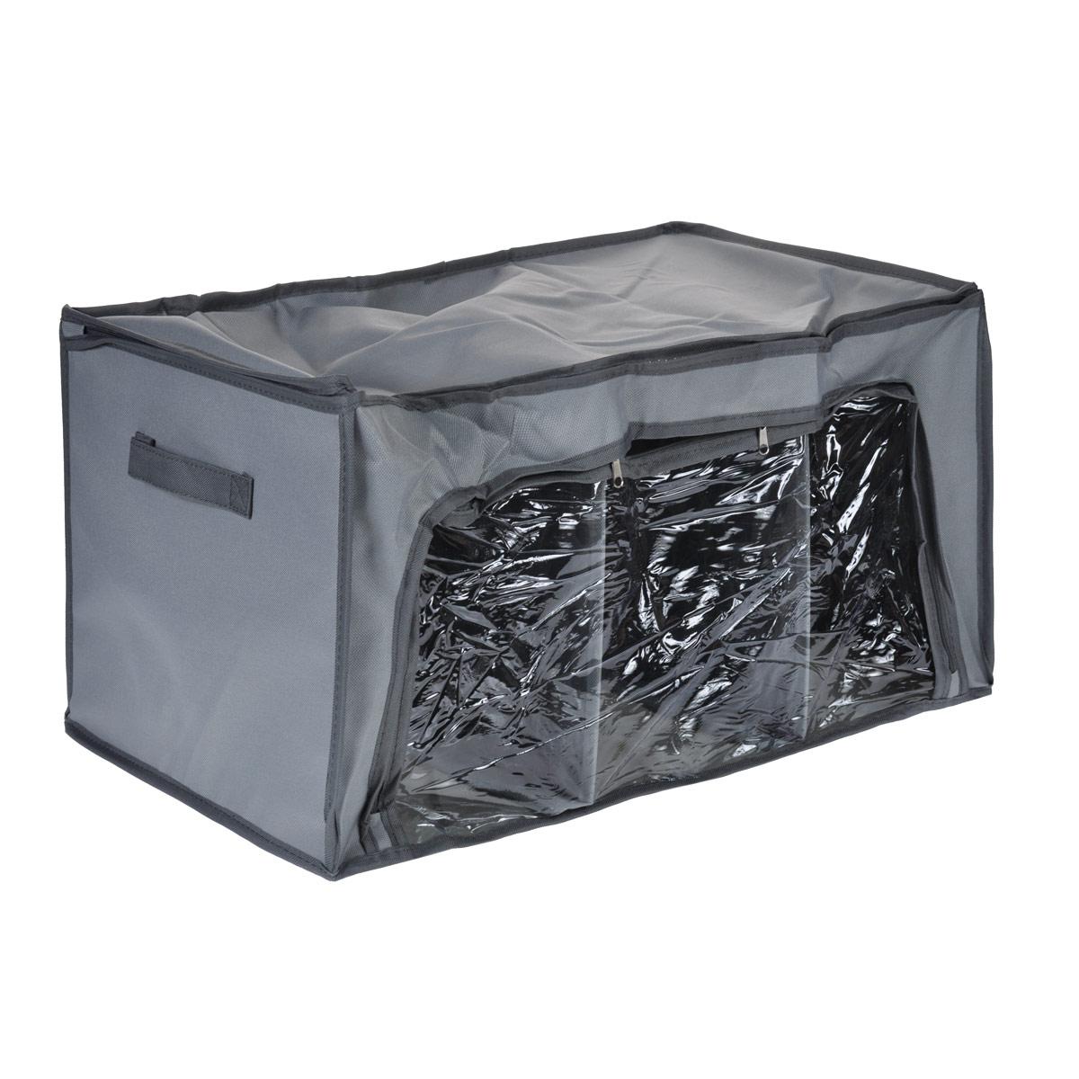Кофр для хранения FS-6528P, цвет: серый, 56 х 36 х 30 смFS-6528PКофр для хранения FS-6528P изготовлен из высококачественного нетканого материала, который позволяет сохранять естественную вентиляцию, а воздуху свободно проникать внутрь, не пропуская пыль. Благодаря специальным вставкам, кофр прекрасно держит форму, а эстетичный дизайн гармонично смотрится в любом интерьере. Прозрачная полиэтиленовая вставка на передней стенке позволит вам без труда определить содержимое кофра. Кофр закрывается крышкой на застежку-молнию, по бокам имеются ручки. Передняя стенка кофра также открывается при помощи застежки-молнии. Мобильность конструкции обеспечивает складывание и раскладывание одним движением.Такой кофр сэкономит место и сохранит порядок в доме. Характеристики:Материал: нетканый материал, полиэтилен. Цвет: серый. Размер кофра (Ш х Д х В): 56 см х 36 см х 30 см.