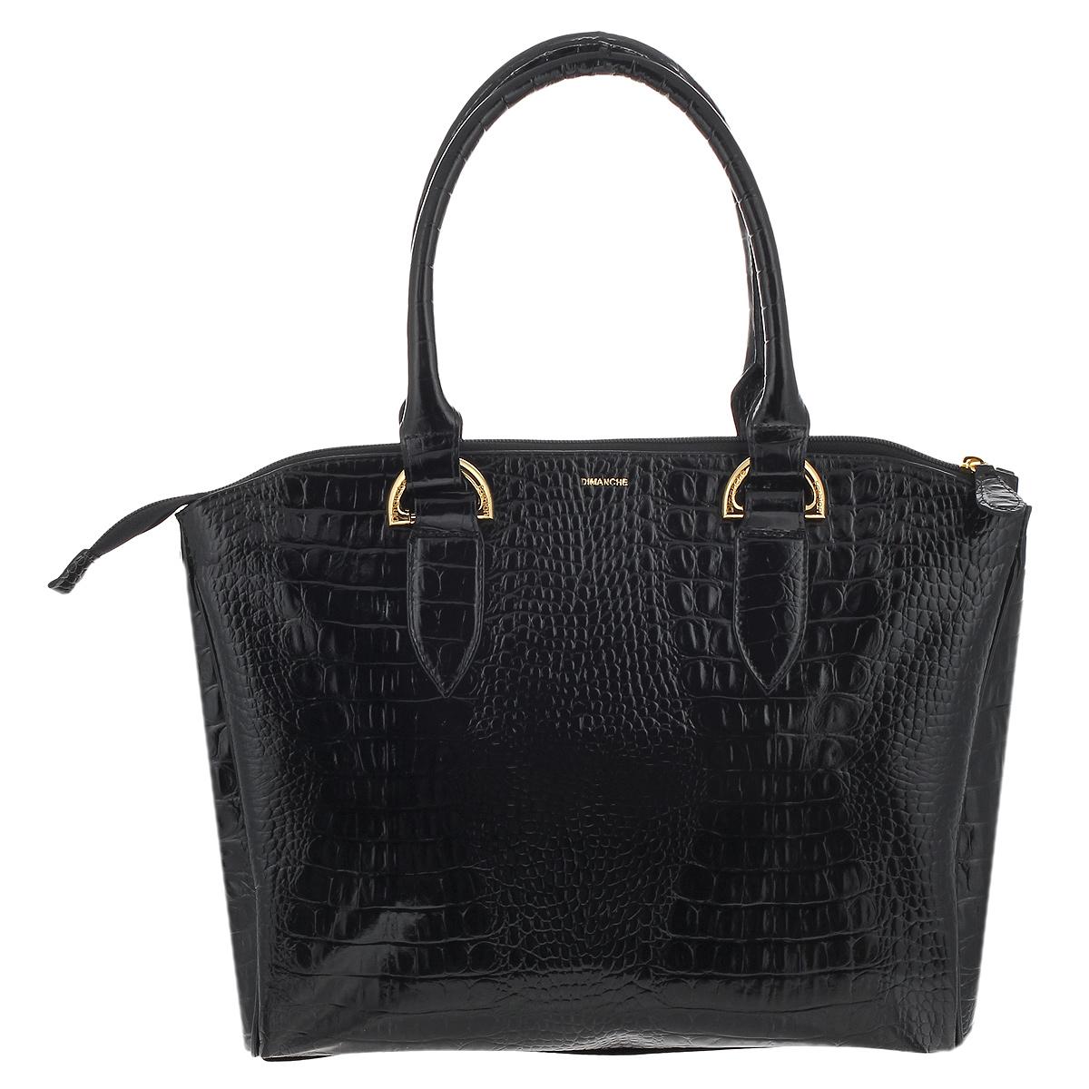 Сумка женская Dimanche Сильвия, цвет: черный. 467/1S76245Стильная женская сумка Dimanche Сильвия выполнена из натуральной высококачественной кожи черного цвета с декоративным теснением под рептилию. Сумка имеет одно вместительное отделение, разделенное средником на молнии и закрывается на застежку-молнию. Внутри - два накладных кармана и карман на застежке-молнии. Сумка оснащена двумя удобными ручками. Фурнитура - золотистого цвета. Сумка упакована в фирменный текстильный мешок.Сумка женская Dimanche Сильвия подчеркнет вашу яркую индивидуальность и сделает образ завершенным. Характеристики: Материал: натуральная кожа, текстиль, металл. Цвет: черный. Размер сумки: 37 см х 28 см х 7 см. Высота ручек: 19 см.