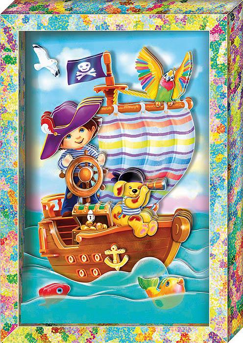 """С набором для создания объемной картины """"Пират"""" ребенок сможет сделать своими руками оригинальную картину с изображением пиратского корабля, пирата и его помощников, плывущих по волнам, используя технику 3D-аппликации. Собрать картину без клея и ножниц легко и приятно: все детали готовы и пронумерованы в порядке, в котором их надо наклеить, метки для скотча указаны на обороте деталей. Нужно просто наклеить детали, слой за слоем, на фон. Набор включает в себя 20 элементов, готовую рамку из плотного картона и двусторонний объемный скотч. Работа с набором поможет ребенку развить координацию, мелкую моторику рук, аккуратность, а также научиться самостоятельно подбирать детали по их изображению и контуру и складывать трехмерное изображение из частей, составляя перспективу."""