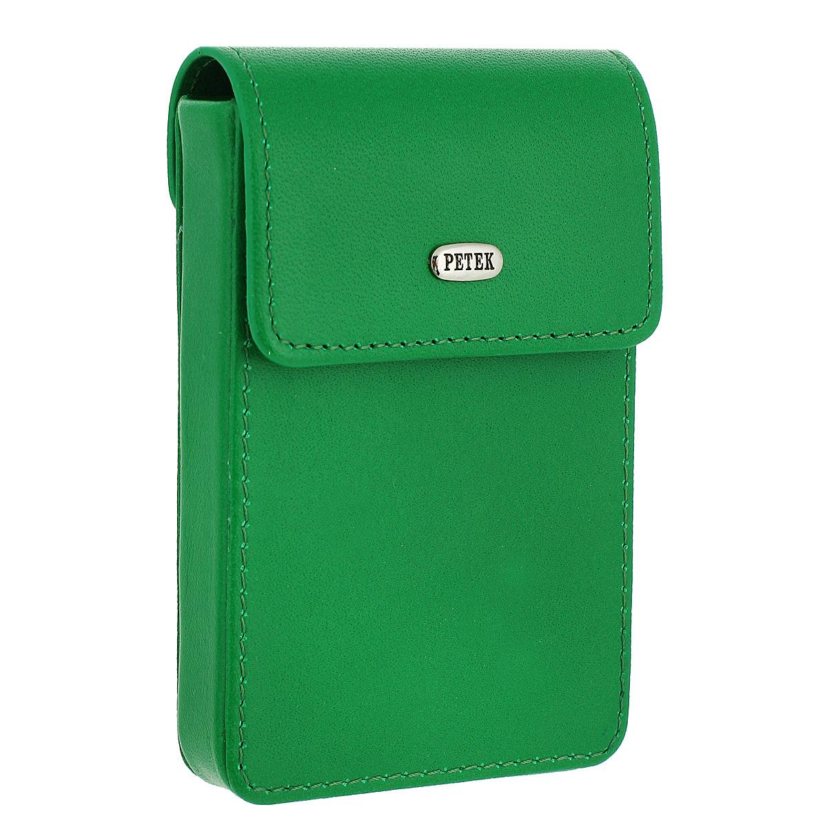 Футляр для визиток Petek, цвет: зеленый.617/1.46D.91 Mint LeafA52_108Характеристики:Материал: натуральная кожа, текстиль, металл. Цвет: зеленый. Размер футляра: 10 см х 6 см х 2,5 см