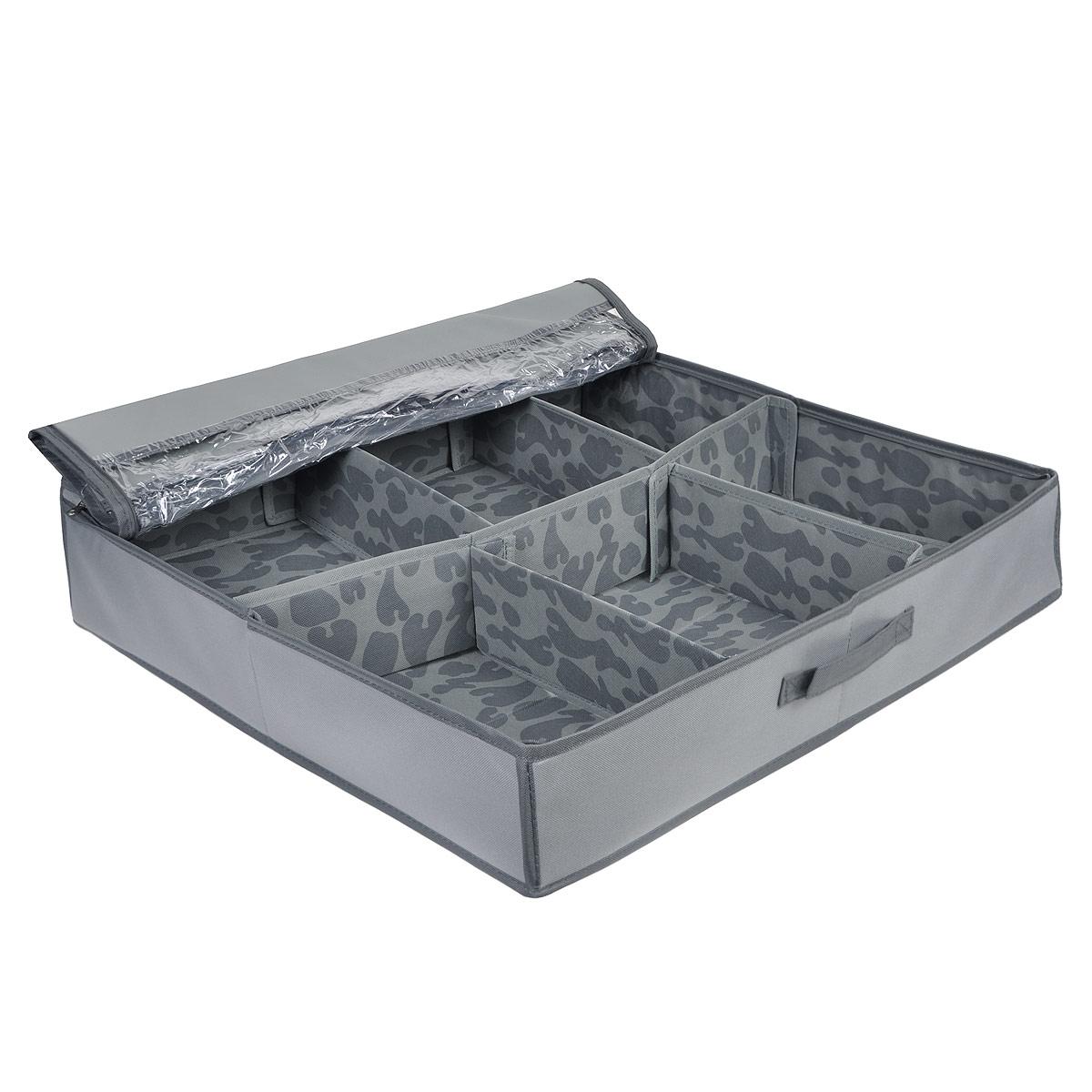 Кофр для хранения FS-6523P, цвет: серый, 60 см х 60 см х 13 смFS-6523PКофр для хранения FS-6523P изготовлен из высококачественного нетканого материала, который позволяет сохранять естественную вентиляцию, а воздуху свободно проникать внутрь, не пропуская пыль. Материал легок, удобен и не образует складок. Благодаря специальным вставкам, кофр прекрасно держит форму, а эстетичный дизайн гармонично смотрится в любом интерьере. Кофр имеет одну большую секцию для хранения вещей, закрывающуюся на молнию с двумя бегунками. Кофр можно разграничить с помощью съемных стенок на липучках. Такие секции подойдут для хранения белья и других мелких вещей. Крышка оснащена двумя прозрачными вставками.Особая конструкция позволяет при необходимости одним движением сложить или разложить кофр. Изделие оснащено удобной ручкой. Такой кофр сэкономит место и сохранит порядок в доме. Характеристики:Материал: нетканый материал. Цвет: серый. Размер кофра (ДхШхВ): 60 см х 60 см х 13 см.