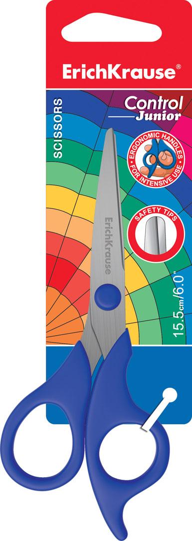 Ножницы канцелярские Erich Krause Control Junior, 15,5 см, цвет: синий19159Ножницы Erich Krause Control Junior с безопасными закругленными концами идеально подойдут для резки всех обычных материалов - бумаги, ткани и т.д. Стальные лезвия плотно прилегают друг к другу. Улучшенная эргономика колец из мягкого материала обеспечивает максимальный комфорт даже при длительной работе.