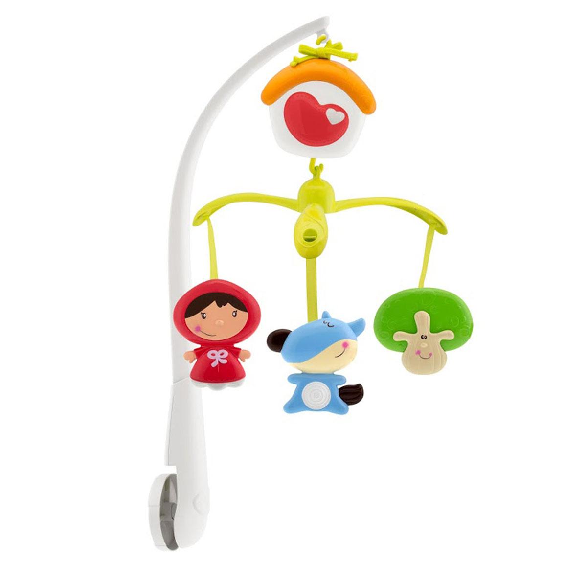 """Яркий музыкальный мобиль Chicco """"Красная шапочка"""" - это оригинальная музыкальная игрушка, создающая атмосферу уюта и спокойствия в детской комнате. Он предназначен для малышей с рождения. К кроватке ребенка крепится кронштейн, к которому подвешивается музыкальный блок и крепеж с игрушками. Под приятные мелодии на мобиле медленно вращаются три игрушки в виде красной шапочки, волка и дерева. Музыкальный блок выполнен в виде домика. Благодаря заводному механизму, мобиль не требует батареек. Для того, чтобы включить мобиль, необходимо повернуть по часовой стрелке сердечко на домике. В результате работы механизма подвесные игрушки начнут кружится в ритме приятной мелодии. При желании музыкальный блок можно использовать отдельно, закрепив его на кроватке при помощи ремешка. Когда малыш подрастет и мобиль ему будет не нужен, можно отдельно использовать игрушки. Сочетание музыки и движения поможет ребенку успокоиться, а также развить цветовое и звуковое восприятия,..."""