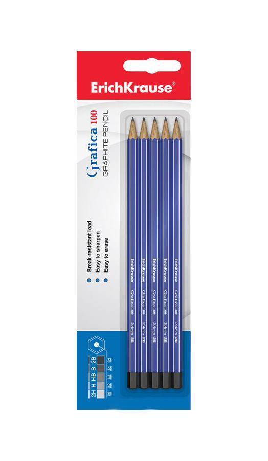 Карандаш чернографитный Erich Krause Grafica 100, 5 штEK32850Чернографитный карандаш Erich Krause Grafica 100 - идеальный инструмент для письма, рисования и черчения. Шестигранный корпус с заглушенным торцом выполнен из натуральной древесины и оформлен серебристым тиснением. Высококачественный ударопрочный грифель не крошится и не ломается при заточке.