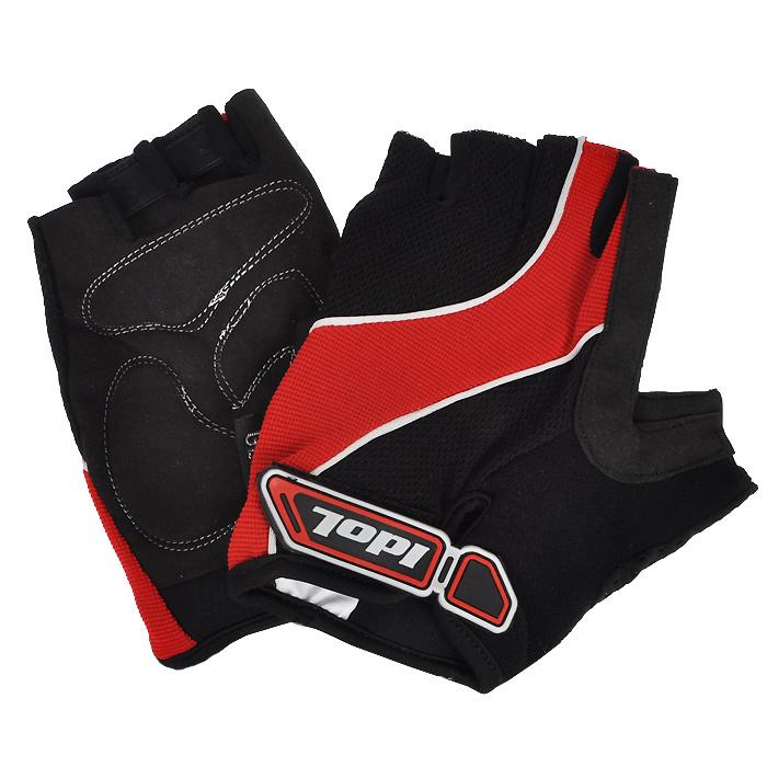 Перчатки велосипедные Idol, цвет: черный, красный. 1502. Размер L