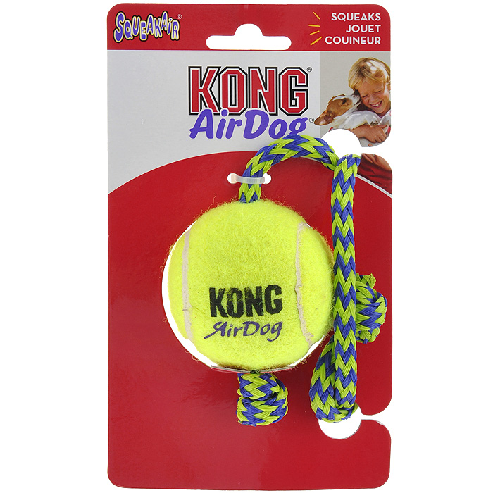 Игрушка для собак Kong Air Теннисный мяч с канатом0120710Игрушка для собак Kong Air Теннисный мяч с канатом предназначена для собак средних пород весом от 5 до 15 кг. Эта игрушка - на 100% настоящий теннисный мяч. Такой мячик имеет непредсказуемую траекторию при отскакивании от земли и может плавать на поверхности воды. Канатики способствуют тренировке жевательных мышц и массажу десен и поддерживают интерес к игре.