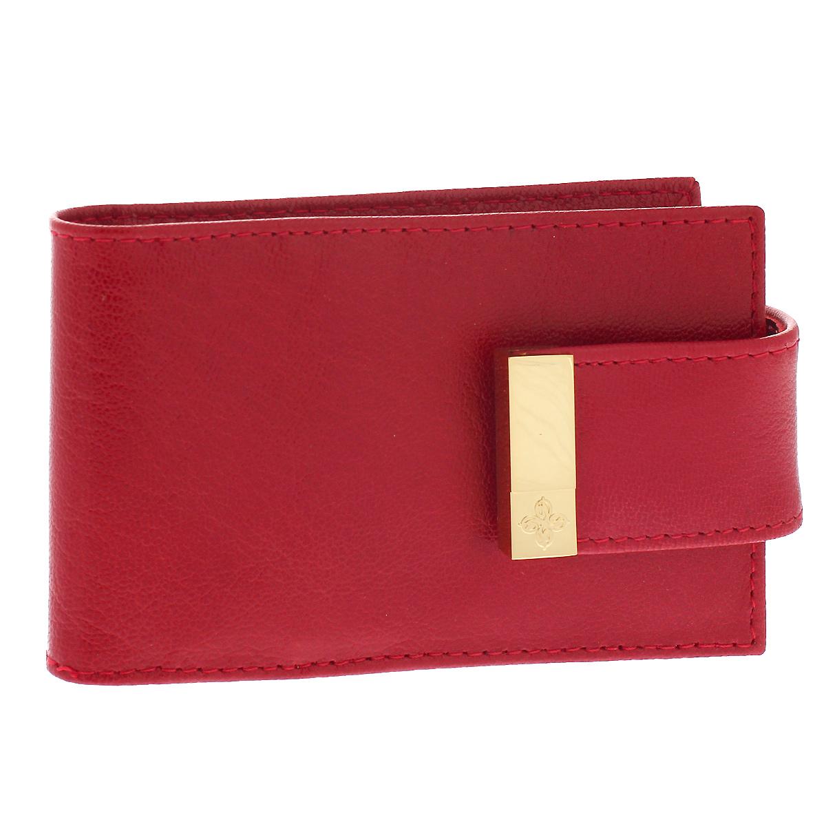 Визитница Dimanche Elite, цвет: красный. 764W16-11128_323Визитница Elite - это стильный аксессуар, который не только сохранит визитки и кредитные карты в порядке, но и, благодаря своему строгому дизайну и высокому качеству исполнения, блестяще подчеркнет тонкий вкус своего обладателя. Визитница выполнена из натуральной высококачественной кожи и содержит внутри съемный блок из 16 прозрачных пластиковых вкладышей, рассчитанных на 32 визитки.Визитница закрывается хлястиком на кнопку.Визитница Elite станет великолепным подарком ценителю современных практичных вещей. Изделие упаковано в фирменную коробку из картона. Характеристики:Материал: натуральная кожа, пленка ПВХ, металл. Цвет: красный. Размер визитницы: 11 см х 6,5 см х 1,5 см.