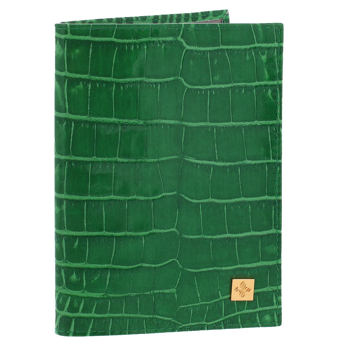Обложка для паспорта Dimanche Казино, цвет: зеленый. 980980Обложка для паспорта Казино выполнена из натуральной кожи с декоративным тиснением под крокодила. На внутреннем развороте - два кармашка из прозрачного пластика. Обложка не только поможет сохранить внешний вид ваших документов и защитит их от повреждений, но и станет стильным аксессуаром, который подчеркнет ваш неповторимый стиль.Обложка упакована в коробку из плотного картона с логотипом фирмы. Характеристики:Материал: натуральная кожа, ПВХ. Цвет: зеленый Размер обложки: 9,5 см х 13,5 см х 1,5 см.