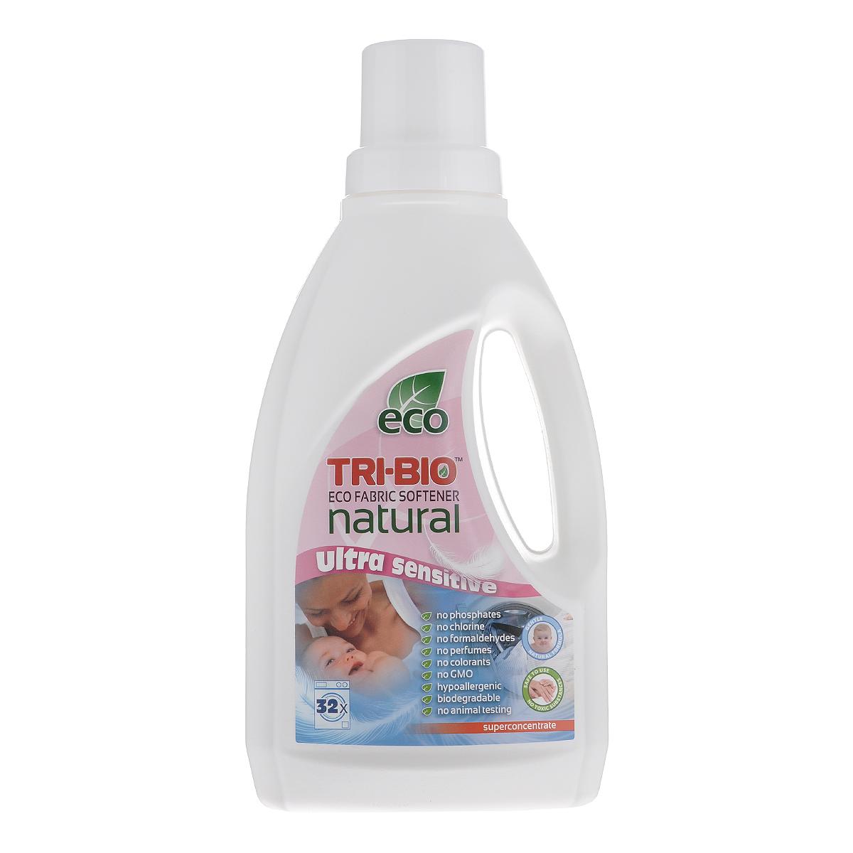 Натуральный кондиционер-смягчитель для белья Tri-Bio, 940 мл40500Эффективная ультра-нежная формула основана на био-энзимах и натуральных растительных и минеральных компонентах. Суперконцентрат расчитан на 32 стирки. Безопасная альтернатива химическим аналогам. Формула кондиционера -смягчителя достаточно нежная для чувствительной детской кожи. Идеально подходит для детского белья и людей с чувствительной кожей. Не содержит ароматов и красителей, рекомендуются для людей, склонных к аллергиям и астме. Для здоровья: Не содержит жесткие химические вещества, токсические вещества, агрессивные абразивные вещества, агрессивные растворители, хлор отбеливающих веществ, фосфаты, нонилфенолы, красители и ароматизаторы, гипоаллергенно.Для окружающей среды: Низкий уровень ЛОС, легко биоразлагаемо, минимальное влияние на водные организмы, рециклируемые упаковочные материалы, не испытывалось на животных.Присвоен сертификат ECO GREEN.