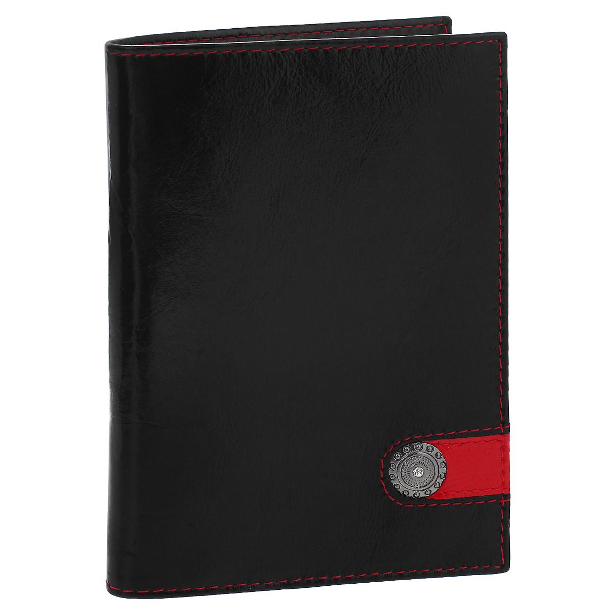 Обложка для паспорта Dimanche Panthere Noire, цвет: черный. 320320Обложка для паспорта Panthere Noire выполнена из натуральной кожи с глянцевой поверхностью и оформлен декоративным металлическим элементом со стразой. На внутреннем развороте - два кармашка из прозрачного пластика. Обложка не только поможет сохранить внешний вид ваших документов и защитит их от повреждений, но и станет стильным аксессуаром, который подчеркнет ваш неповторимый стиль.Обложка упакована в коробку из плотного картона с логотипом фирмы. Характеристики:Материал: натуральная кожа, ПВХ. Цвет: черный. Размер обложки: 9,5 см х 13,5 см х 1,5 см.