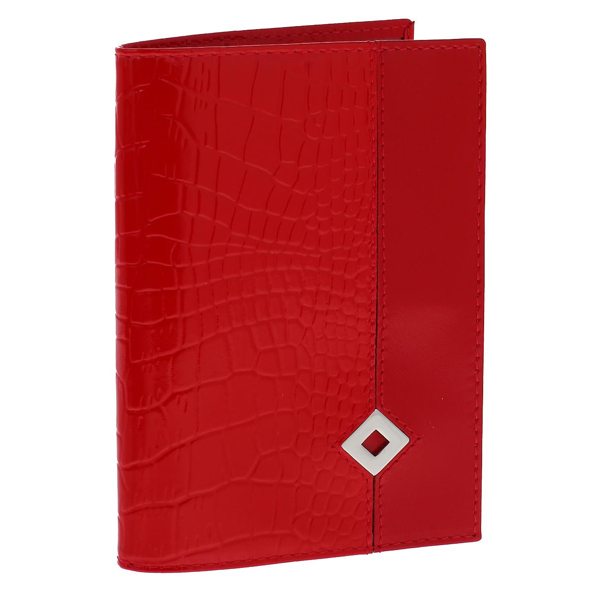 Обложка для паспорта Dimanche Papillon Rouge, цвет: красный. 330330Обложка для паспорта Dimanche Papillon Rouge изготовлена из натуральной кожи красного цвета с декоративным тиснением под рептилию. Обложка украшена металлическим значком в виде ромба. Внутри обложка отделана атласным текстилем красного цвета с рисунком. На внутреннем развороте содержится два кармана из прозрачного пластика. Стильная обложка не только защитит ваши документы, но и станет стильным аксессуаром, подчеркивающим ваш образ. Изделие упаковано в фирменную коробку коричневого цвета с логотипом фирмы Dimanche. Характеристики:Материал: натуральная кожа, текстиль, пластик. Цвет: красный. Размер обложки: 9,5 см х 13,8 см.