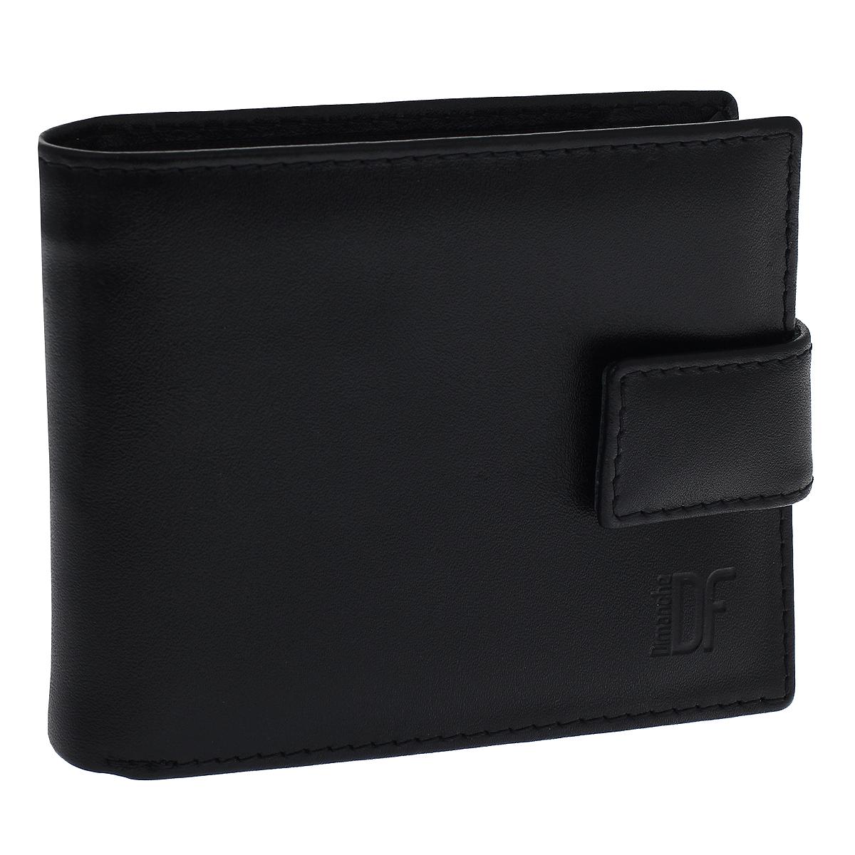 Портмоне мужское Dimanche Bond, цвет: черный. 964INT-06501Портмоне Dimanche Bond изготовлено из натуральной кожи черного цвета. Закрывается хлястиком на кнопку.Внутри содержится 2 отделения для купюр, дополнительный карман на молнии, 6 карманов для кредитных карт, 2 потайных кармашка для мелких бумаг и объемный карман для мелочи, который закрывается клапаном на кнопку. Внутри кошелек отделан атласным полиэстером черного цвета с узором. Фурнитура - серебристого цвета.Стильное портмоне отлично дополнит ваш образ и станет незаменимым аксессуаром на каждый день. Упаковано в фирменную картонную коробку коричневого цвета. Характеристики: Материал: натуральная кожа, полиэстер, металл. Цвет: черный. Размер портмоне (ДхШхВ): 11,5 см х 9,5 см х 2,5 см.