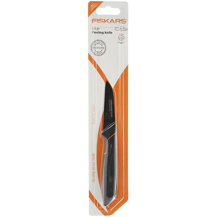 Нож для овощей Fiskars Edge, длина лезвия 8 см12006Нож для овощей Fiskars Edge оснащен особо острым лезвием из нержавеющей стали. Легкомоющееся защитное покрытие ножа предотвращает коррозию и прилипание пищи к продуктам. Эргономичная рукоятка, выполненная из пластика черного цвета, обеспечивает надежный, безопасный захват и непревзойденный комфорт во время резки. Особая форма лезвия идеальна для нарезки и очистки овощей и фруктов. Можно мыть в посудомоечной машине. Характеристики: Материал: нержавеющая сталь, бакелит. Цвет: черный. Длина лезвия: 8 см. Длина ножа: 19,5 см.