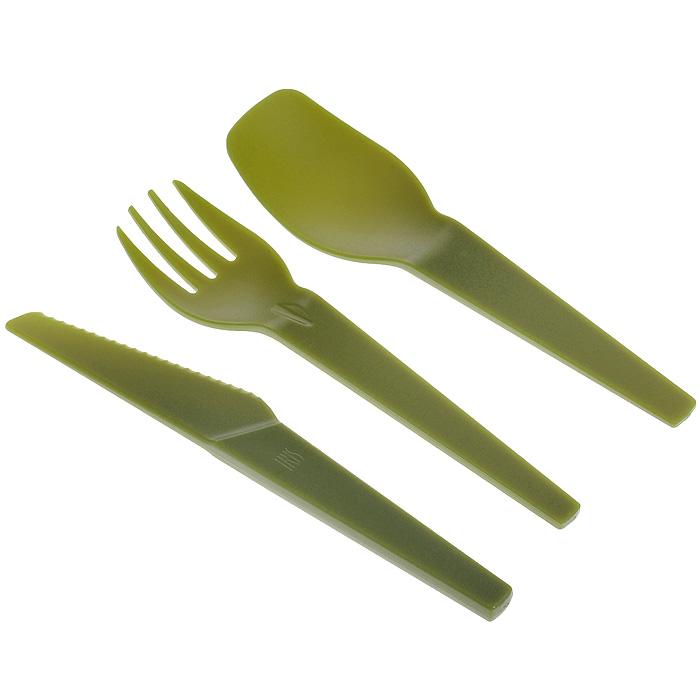 Набор пластиковых столовых приборов Iris Barcelona, цвет: зеленый, 3 предмета027302433ELE13Набор столовых приборов Iris Barcelona состоит из ложки, вилки и ножа. Изделия выполнены из пищевого пластика зеленого цвета. Приборы прочные, удобные и практичные. Набор упакован в притягательный прозрачный ПВХ футляр, закрывающийся на кнопку. Приборы всегда будут в чистоте и компактно сложены. Такой набор пригодится где угодно: его можно взять с собой на работу, учебу, прогулку или в поездку. Компактный размер не займет много места в сумке или багаже.Характеристики: Материал: пластик. Цвет: зеленый. Длина ложки/вилки: 14,5 см. Длина ножа: 15 см. Размер футляра: 5,5 см х 16 см х 2 см.