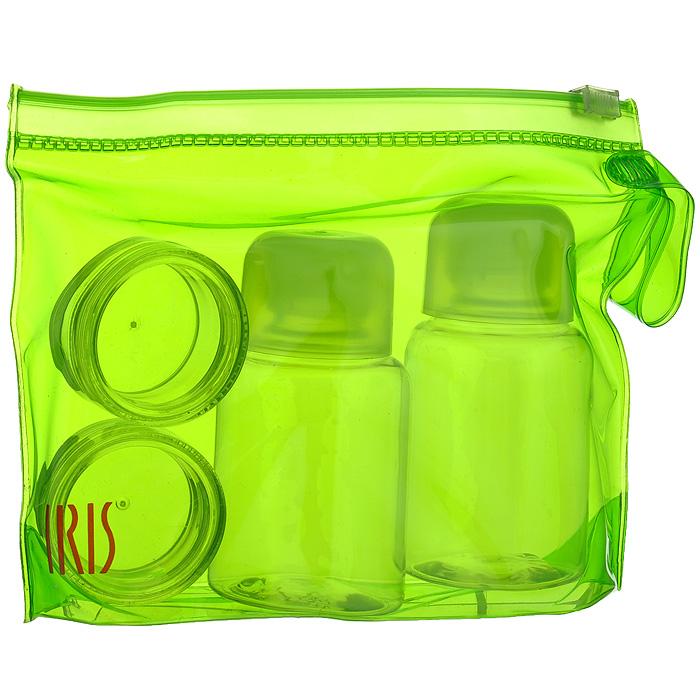 Набор для специй Iris Barcelona, цвет: зеленый, 5 предметов21395599Набор для специй Iris Barcelona состоит из двух круглых контейнеров для специй (например, соли и перца), двух бутылочек для жидкостей (например, уксуса и масла) и сумочки. Изделия оснащены плотно завинчивающимися крышками, что исключает проливание. Набор выполнен из прозрачного пластика. Упакован в прозрачную ПВХ-сумочку зеленого цвета. Набор для специй Iris Barcelona можно взять с собой куда угодно: на работу, отдых или пикник. Вы везде сможете приправить блюда вашими любимым специями. Характеристики: Материал: пластик. Цвет: зеленый. Объем контейнера для специй: 10 мл. Размер контейнера для специй (ДхШхВ): 3,7 см х 3,7 см х 2 см. Объем бутылочки для жидкостей: 50 мл. Размер бутылочки для жидкостей (ДхШхВ): 4 см х 4 см х 8 см. Размер сумочки (ДхШхВ): 15 см х 4 см х 11,5 см.