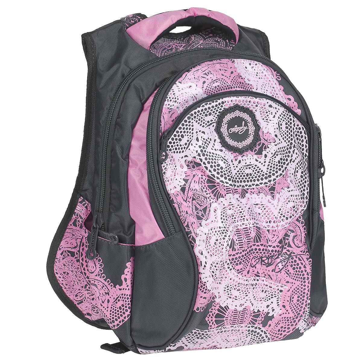 Рюкзак городской Grizzly, цвет: серый, розовый. RD-216-1RU-715-2/2Стильный рюкзак Grizzly выполнен из полиэстера серого цвета с розовыми вставками и оформлен оригинальным изображением. Рюкзак оснащен одним основным отделением, закрывающимся на застежку-молнию.На внешней стороне рюкзака расположен вместительный накладной карман на застежке-молнии. Внутри расположен два кармашка для мелочей и телефона и три кармашка для пишущих принадлежностей. Также на внешней стороне расположен еще один маленький кармашек на молнии. По бокам сумки расположены два маленьких открытых кармашка. Рюкзак оснащен мягкими плечевыми лямками, мягкой спинкой с сетчатой поверхностью, текстильной ручкой для удобной переноски и двумя сетчатыми кармашками по бокам.Бегунки снабжены удобными держателями. Характеристики:Цвет: серый, розовый. Размер: 30 см x 12 см х 40 см. Материал:полиэстер, текстиль, металл. Производитель: Россия.