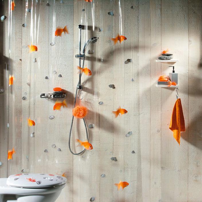 Штора для ванной комнаты Goldfish orange, 180 х 200 см391602Штора для ванной комнаты Goldfish orange с изображением золотых рыбок изготовлена из полихлорвинила. В верхней кромке шторы сделаны отверстия для колец окантованные металлом (кольца в комплект не входят).Шторы от компанииSpirella отличает яркий, красочный дизайн рисунков и высокое качество (гарантия на изделие 3 года). Сделайте вашу ванную комнату еще красивее! Характеристики: Материал: полихлорвинил. Размер шторы (ШхВ): 180 см х 200 см.