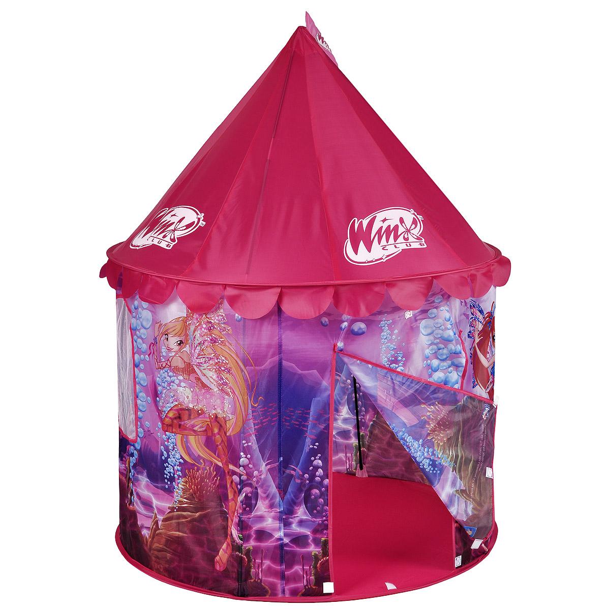 """Детская игровая палатка 1Toy """"Winx Club"""", выполненная в любимом дизайне Winx, идеально подойдет для детских игр, как на улице, так и в помещении. Она выполнена в виде шатра, снабжена одним входом и сетчатым окошком. Палатка изготовлена из легкого текстильного материала ярких цветов. Каркас палатки поддерживается при помощи металлических прутьев. Благодаря своей легкости и компактным размерам в сложенном виде палатку легко перевозить и хранить. Складывается палатка в удобную сумку-чехол с ручками. Ваш ребенок с удовольствием будет играть в такой палатке, придумывая различные истории. Учеными давно подмечен факт, что ребенок чувствует себя психологически более защищенным, находясь под крышей, соответствующей его росту - именно поэтому дети очень любят лазить под стол, залезать в шкаф. В палатке 1Toy """"Winx Club"""" ребенок будет чувствовать себя максимально уютно."""