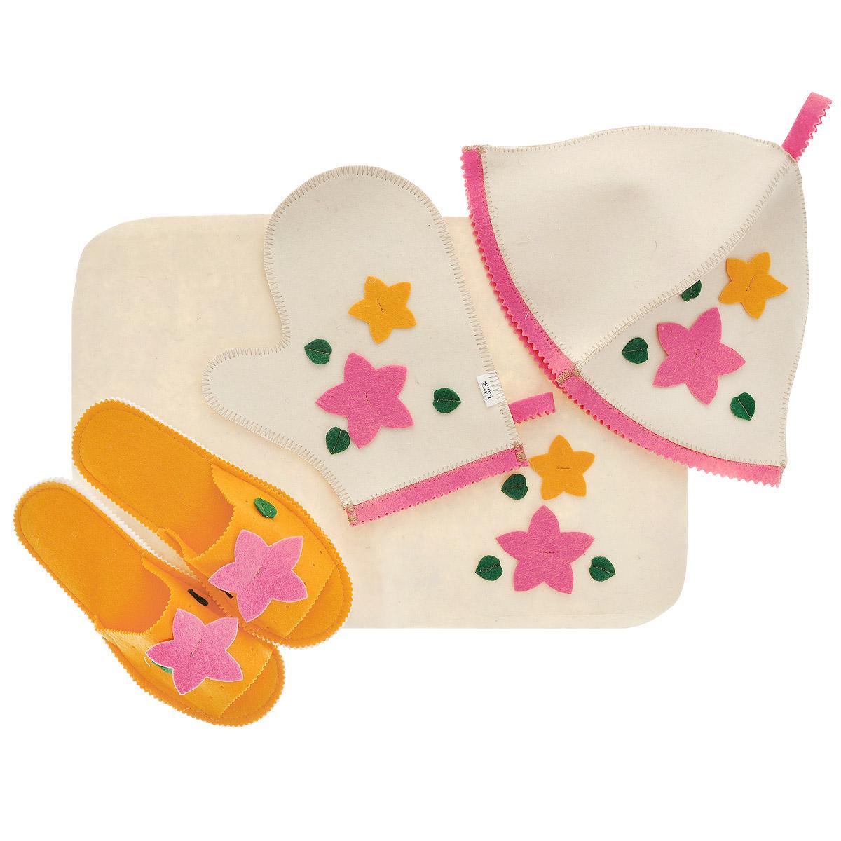 Набор для бани и сауны Доктор баня Букет, цвет: оранжевый, розовый, 4 предметаБ1153Набор для бани и сауны Доктор баня Букет, выполненный из фетра, привлечет внимание любителей модных тенденций в банной одежде. В набор входят все необходимые аксессуары, для того чтобы банный поход принес вам только радость. Набор состоит из коврика, шапки, рукавицы и тапочек. Шапка - незаменимая вещь в парной. Она необходима для того, чтобы не перегреть голову, также она должна хорошо впитывать влагу. Коврик убережет вас от горячей полки, защитит вас в общественной бане, а варежка обезопасит ваши руки от горячего пара или ручки ковша. Рукавицей можно также прекрасно помассировать тело. Тапочки сделают ваше пребывание в бане комфортным.Все предметы декорированы аппликацией в виде цветов и листьев.Диаметр основания шапки: 35 см.Высота шапки: 24 см.Размер рукавицы: 22,5 х 27 см.Размер коврика: 33 х 50 см.Длина тапок: 26 см.Наибольшая ширина тапок (по подошве): 10,5 см.
