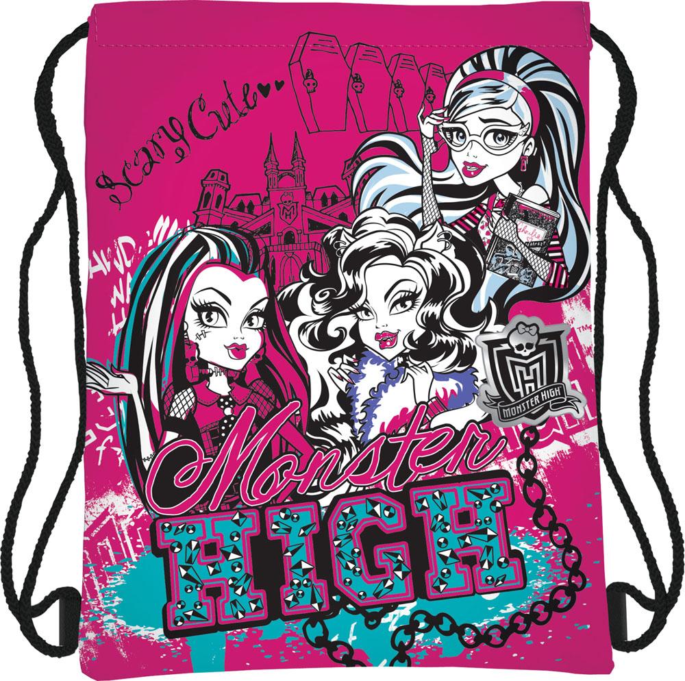 Сумка для сменной обуви Monster High, цвет: ярко-розовый, черныйКостюм Охотник-Штурм: куртка, брюкиСумка для сменной обуви Monster High идеально подойдет как для хранения, так и для переноски сменной обуви и одежды. Сумка выполнена из мягкого водоотталкивающего материала и дополнена одним вместительным отделением, затягивающимся с помощью текстильного шнурочка. Шнурки фиксируются в нижней части сумки, благодаря чему ее можно носить за спиной как рюкзак. Оформлено изделие ярким принтом с изображением персонажей мультфильма Monster High.